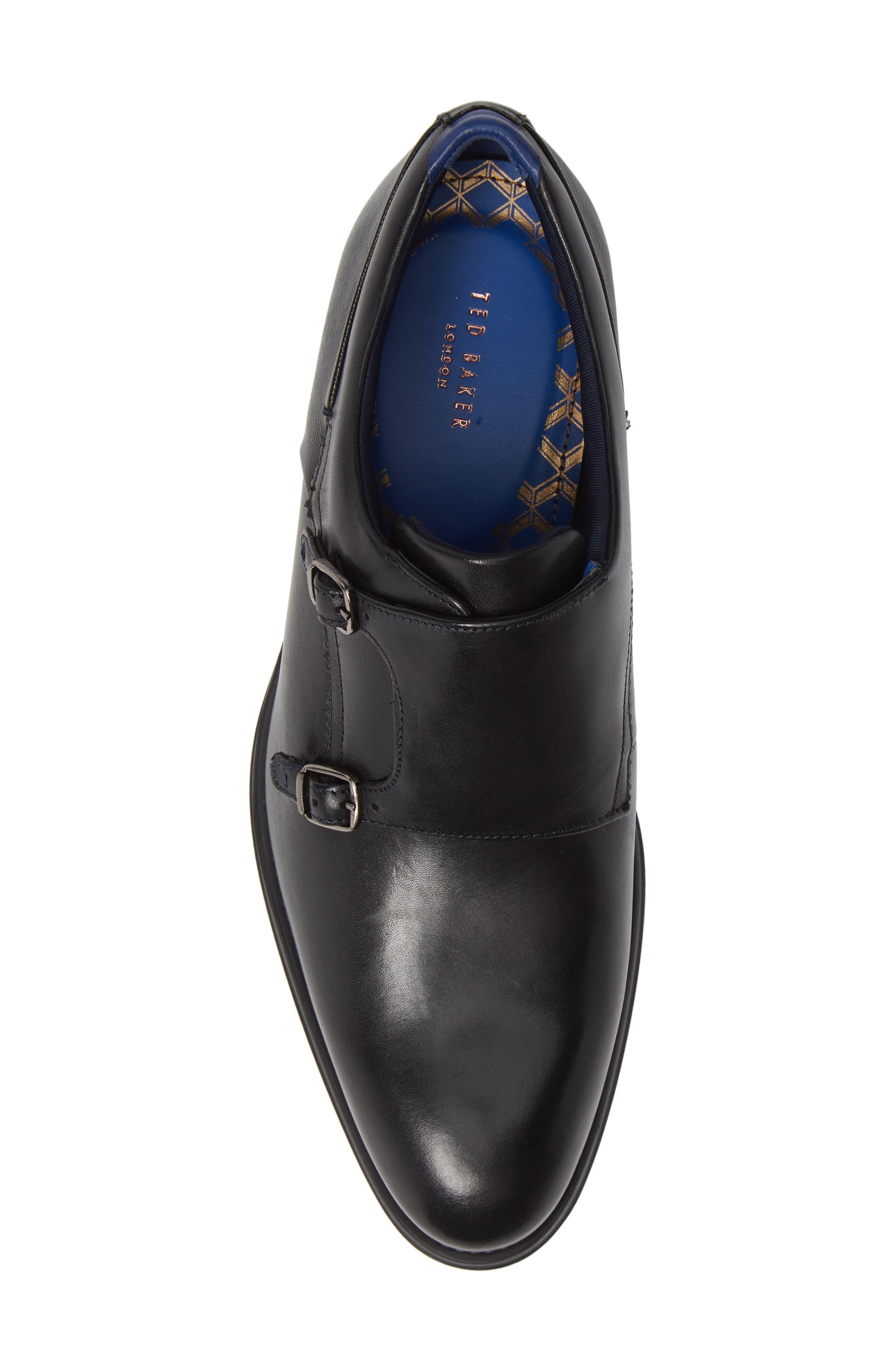 TED BAKER LONDON, Cathon Double Buckle Monk Shoe, Alternate thumbnail 5, color, BLACK LEATHER