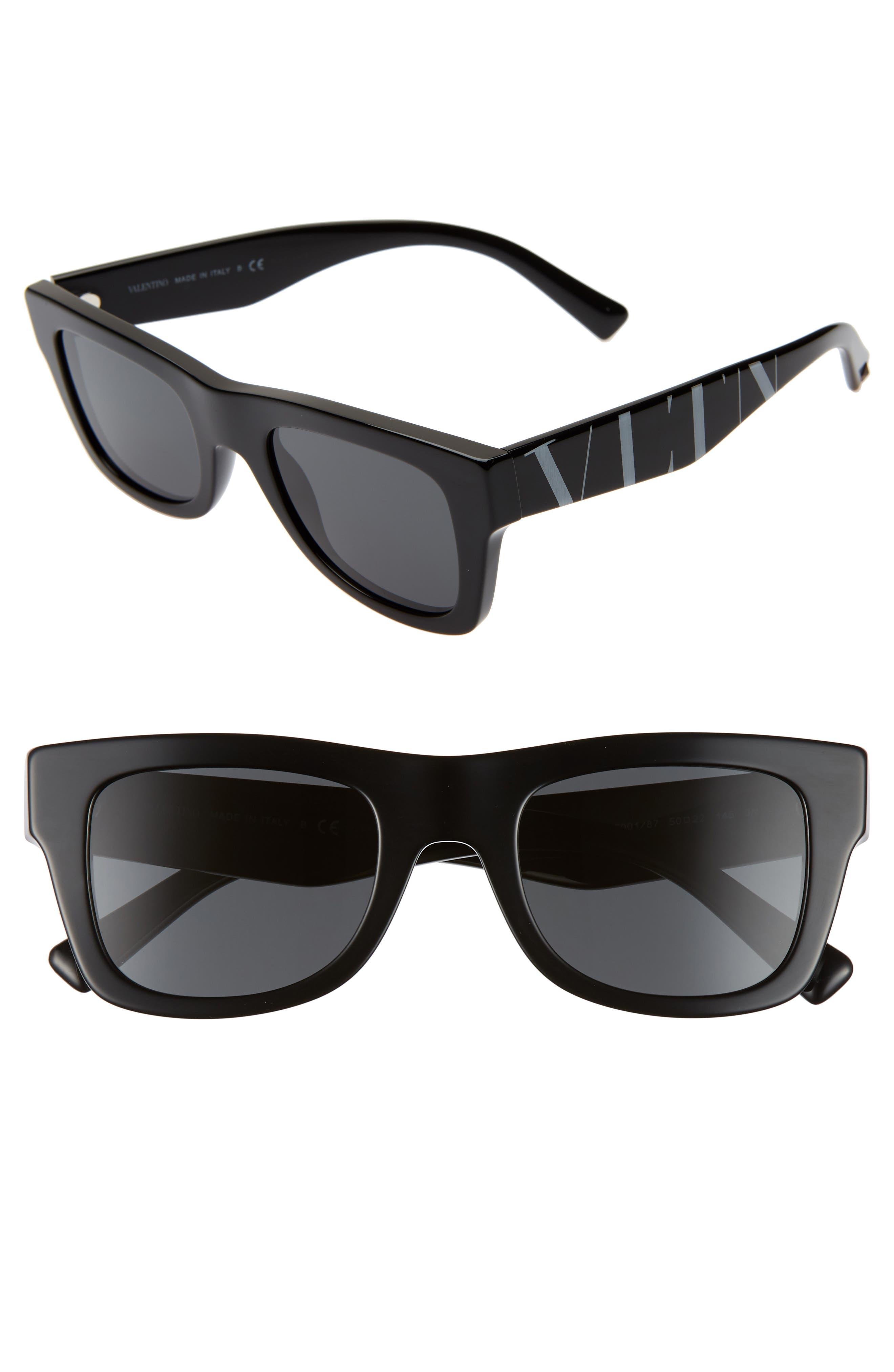 VALENTINO VLTN 50mm Square Sunglasses, Main, color, BLACK SOLID