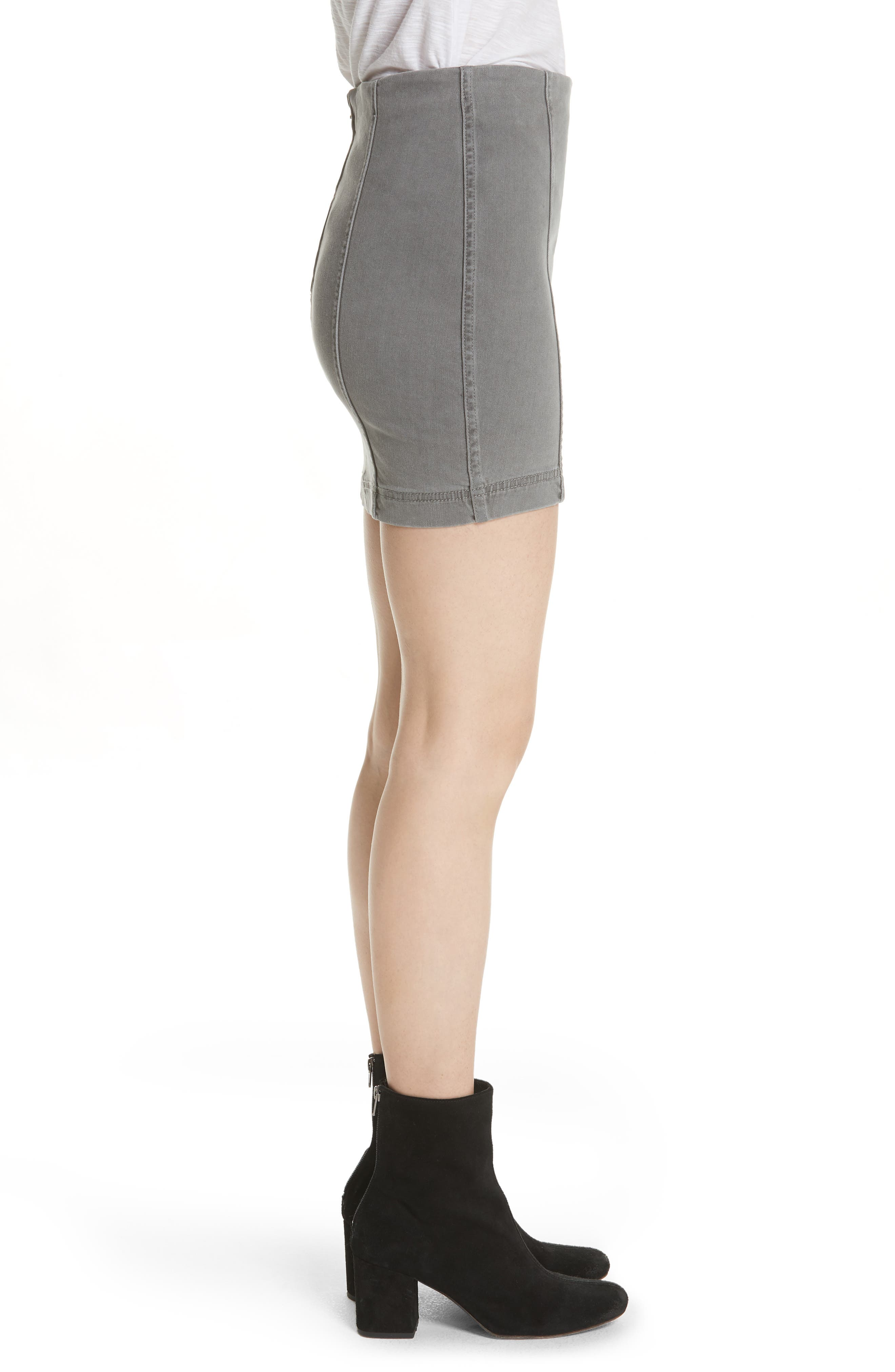 FREE PEOPLE, We the Free by Free People Modern Femme Denim Miniskirt, Alternate thumbnail 3, color, LIGHT GREY
