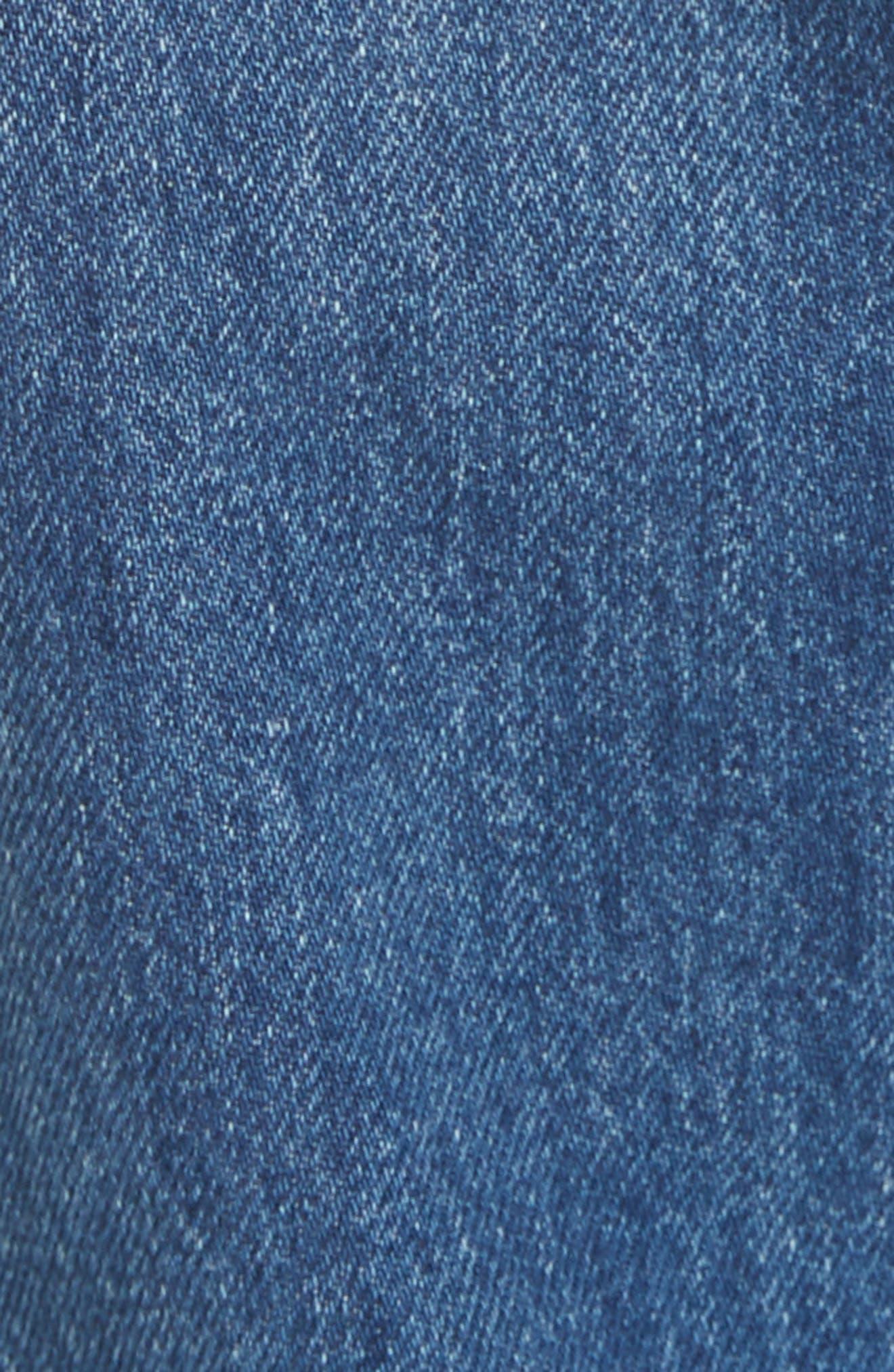 3X1 NYC, Kelly Paperbag Waist Ankle Wide Leg Jeans, Alternate thumbnail 5, color, MEG