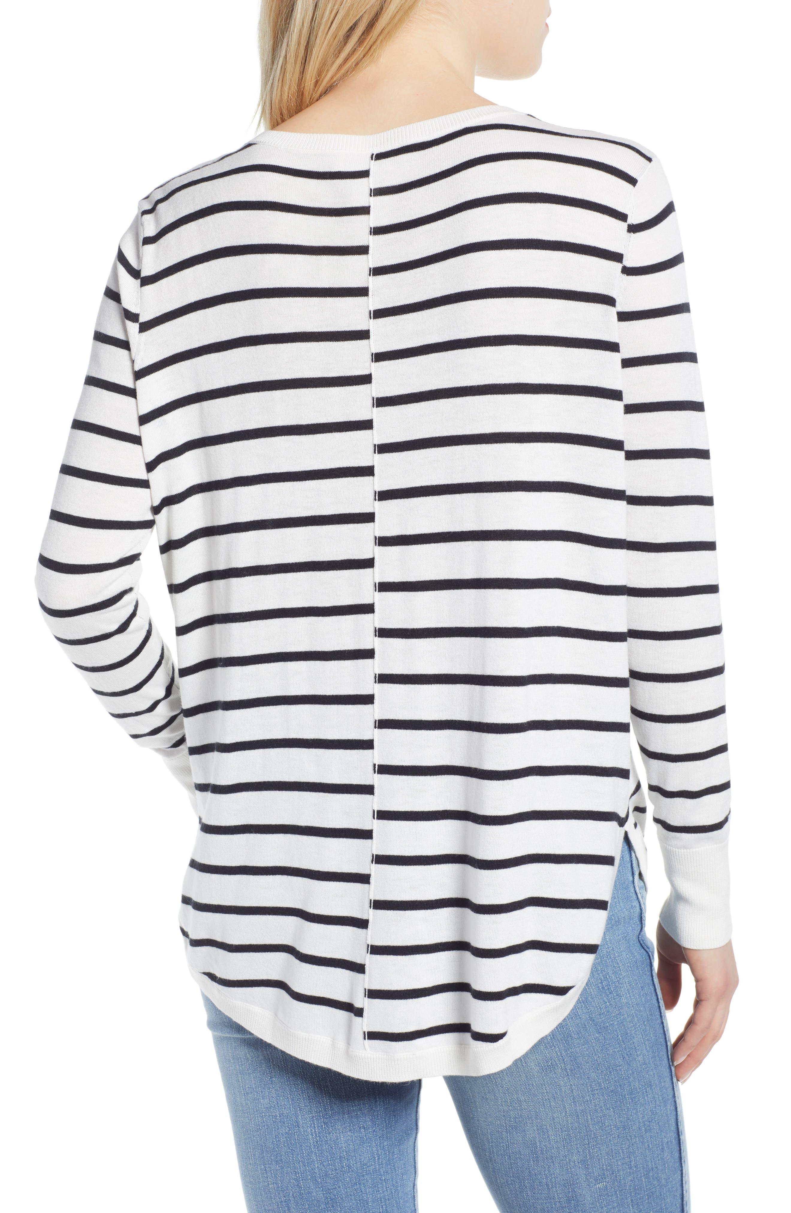 CASLON<SUP>®</SUP>, High-Low V-neck Sweater, Alternate thumbnail 2, color, IVORY- BLACK PRITHI STRIPE