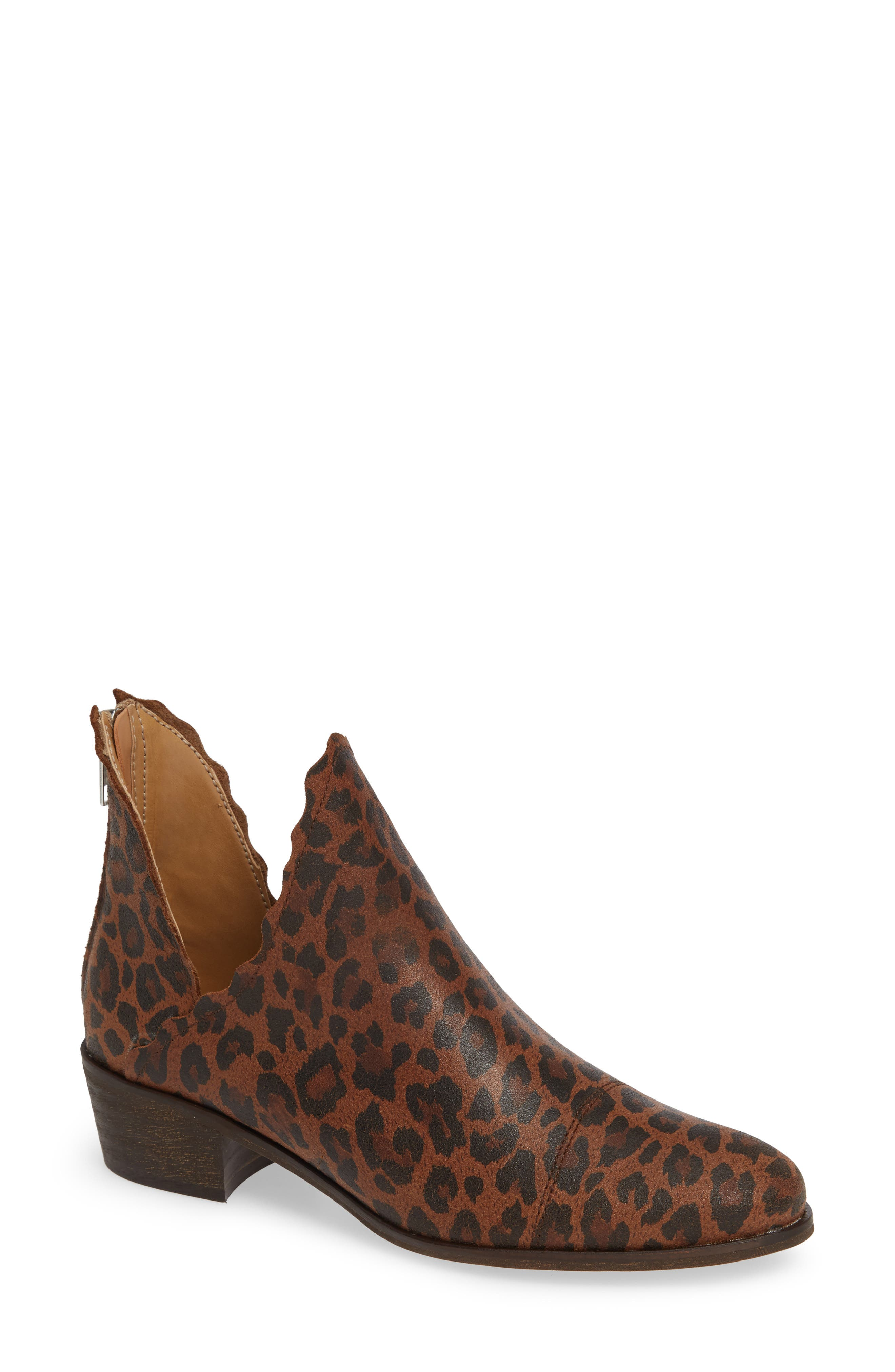 KLUB NICO, Bae Scalloped Bootie, Main thumbnail 1, color, LEOPARD SUEDE