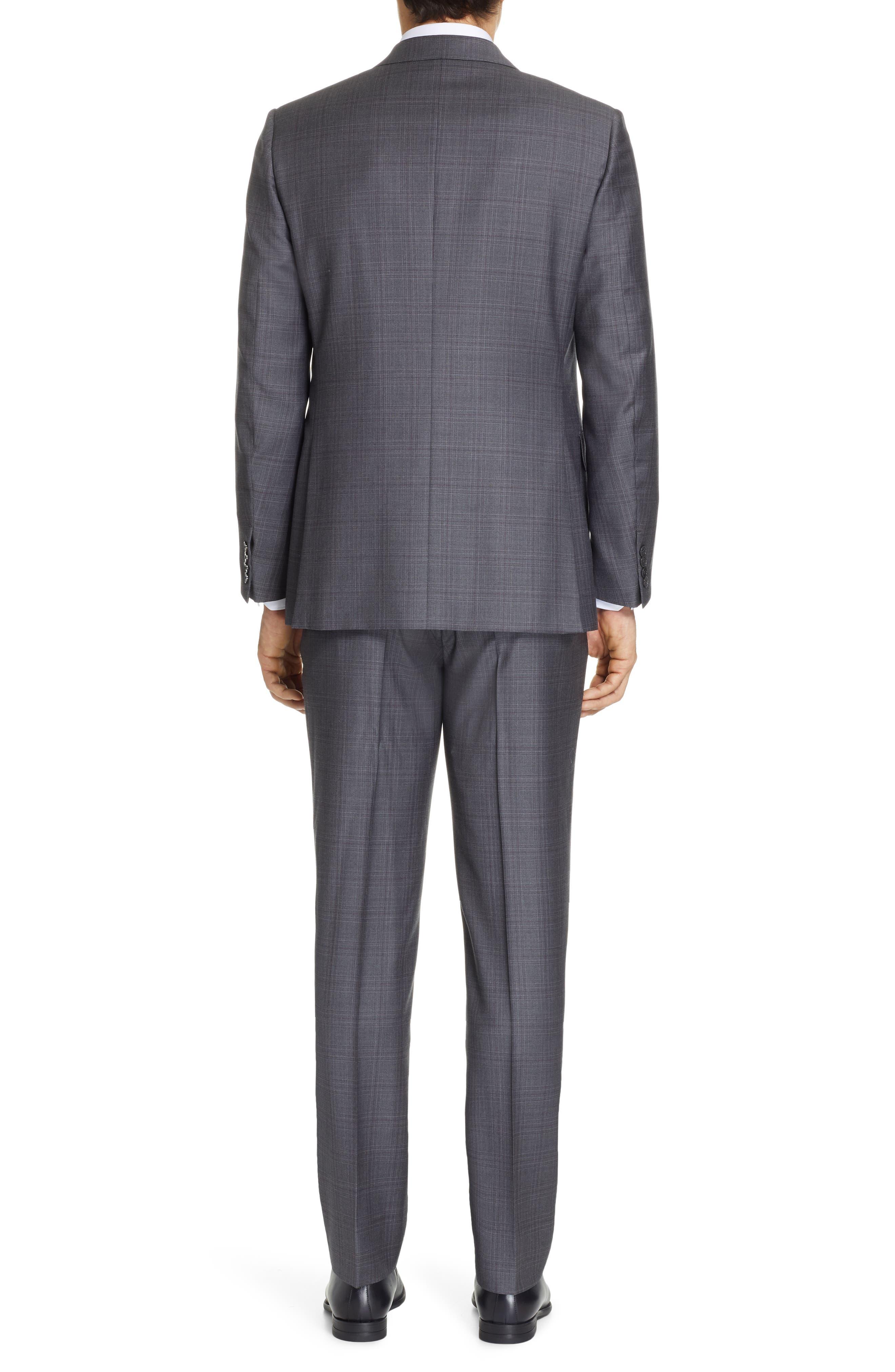 ERMENEGILDO ZEGNA, Milano Trofeo Classic Fit Plaid Wool Suit, Alternate thumbnail 2, color, GREY