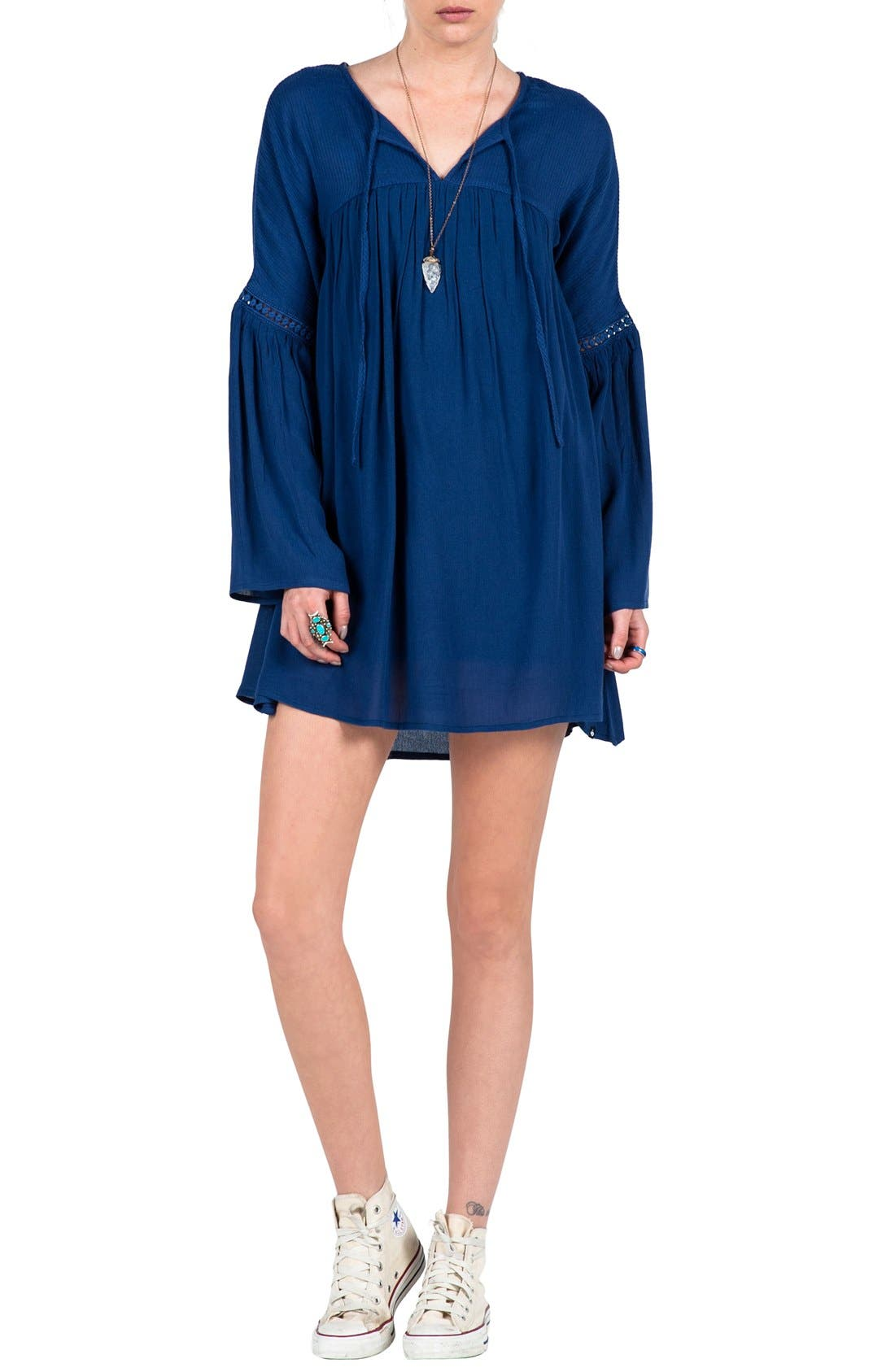 VOLCOM 'Peaceazy' Babydoll Dress, Main, color, 410