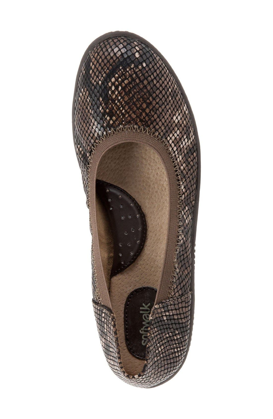 SOFTWALK<SUP>®</SUP>, 'Hampshire' Dot Perforated Ballet Flat, Alternate thumbnail 4, color, BROWN PYTHON PRINT LEATHER