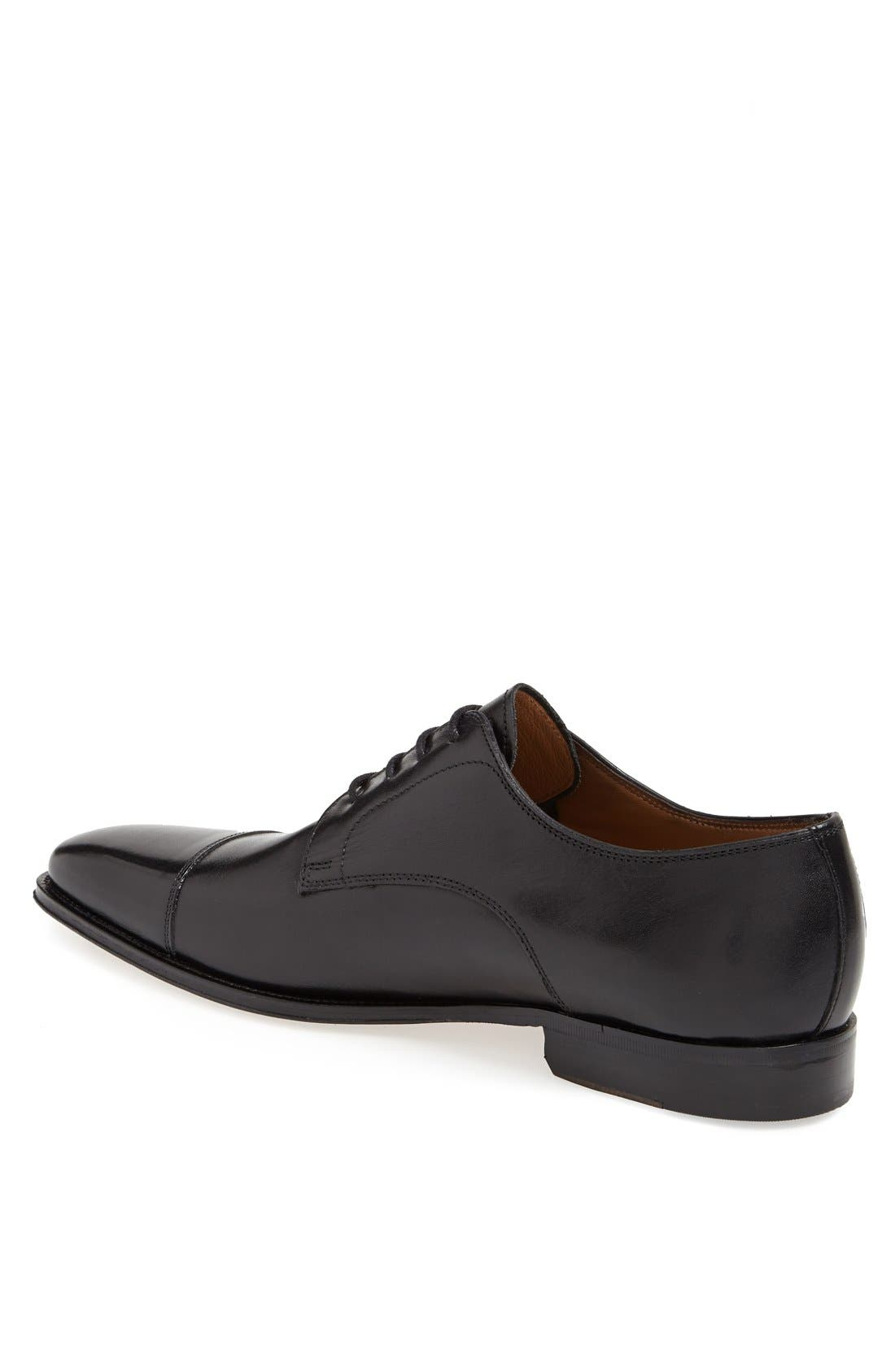 FLORSHEIM, Classico Cap Toe Oxford, Alternate thumbnail 2, color, BLACK
