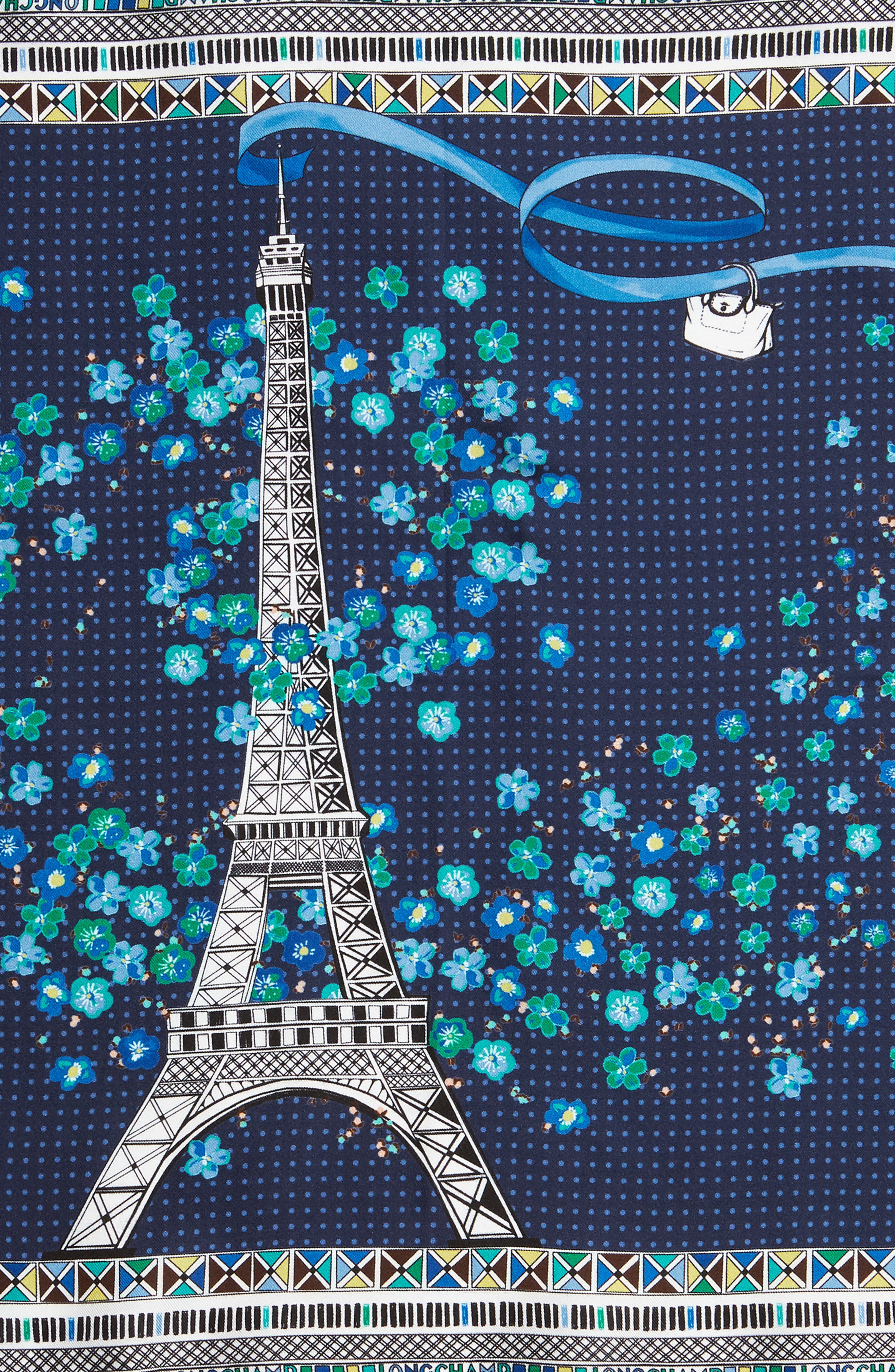 LONGCHAMP, Tour Eiffel Silk Scarf, Alternate thumbnail 4, color, NAVY