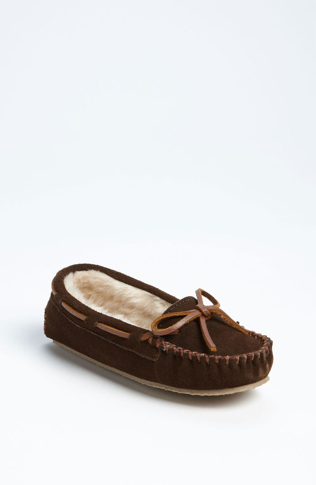 MINNETONKA, 'Cassie' Slipper, Main thumbnail 1, color, CHOCOLATE
