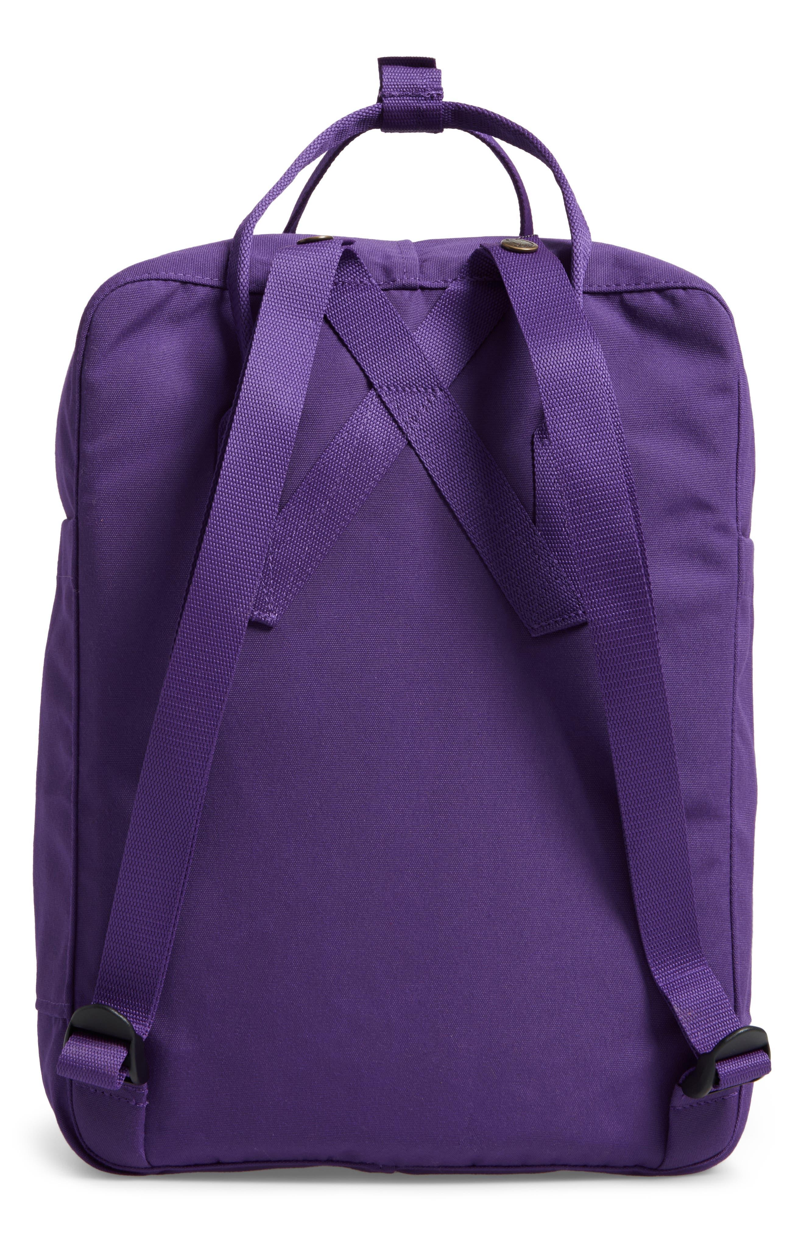 FJÄLLRÄVEN, Re-Kånken Water Resistant Backpack, Alternate thumbnail 3, color, DEEP VIOLET