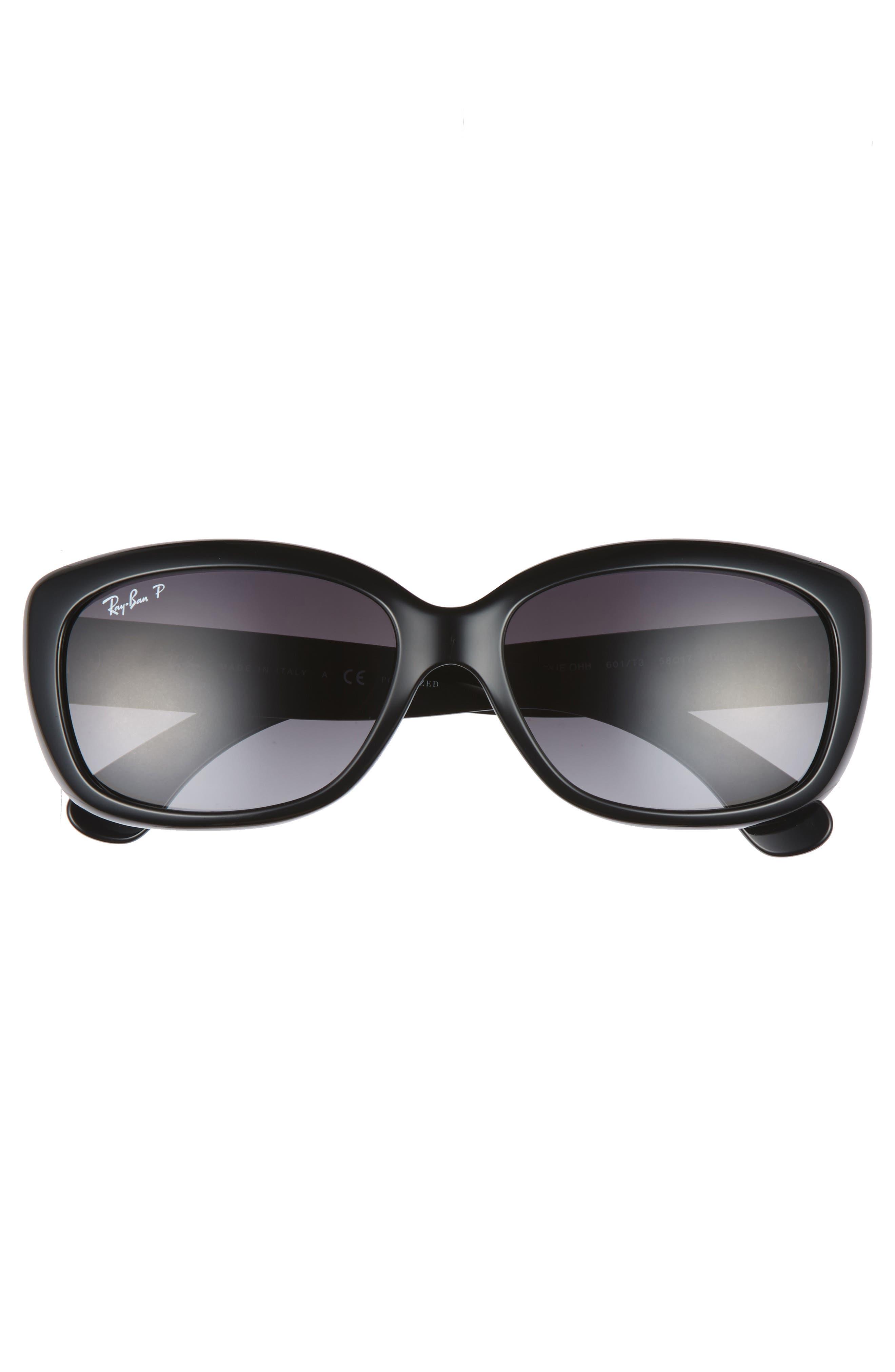RAY-BAN, 58mm Polarized Sunglasses, Alternate thumbnail 3, color, BLACK GREY