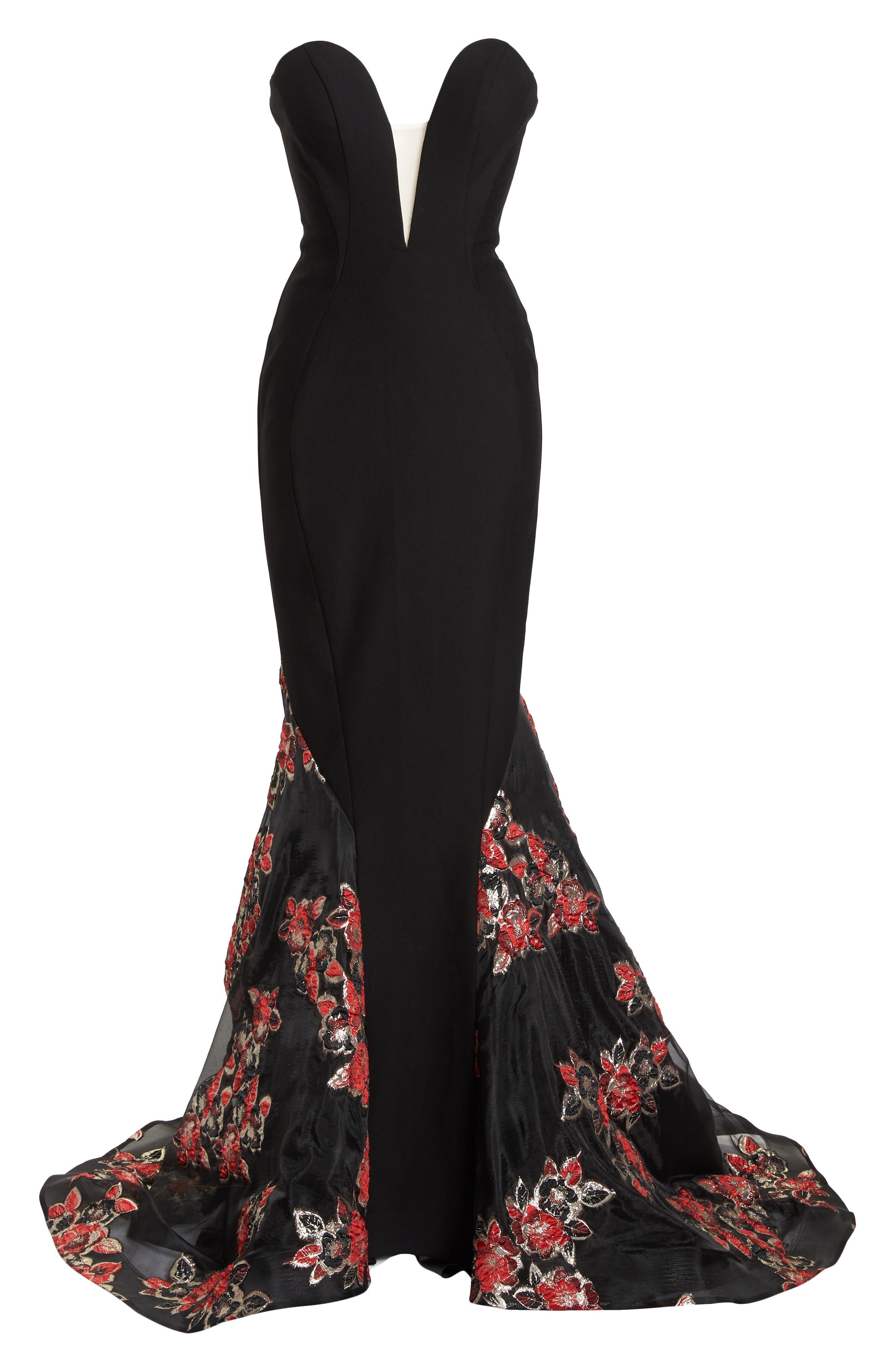 MAC DUGGAL, Plunge Floral Jacquard Mermaid Gown, Alternate thumbnail 6, color, BLACK
