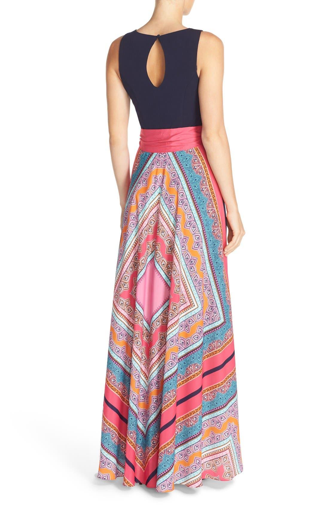 ELIZA J, Scarf Print Jersey & Crêpe de Chine Maxi Dress, Alternate thumbnail 11, color, PINK