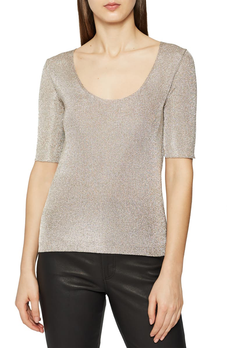 Reiss Sweaters TABBY SCOOP NECK METALLIC SWEATER