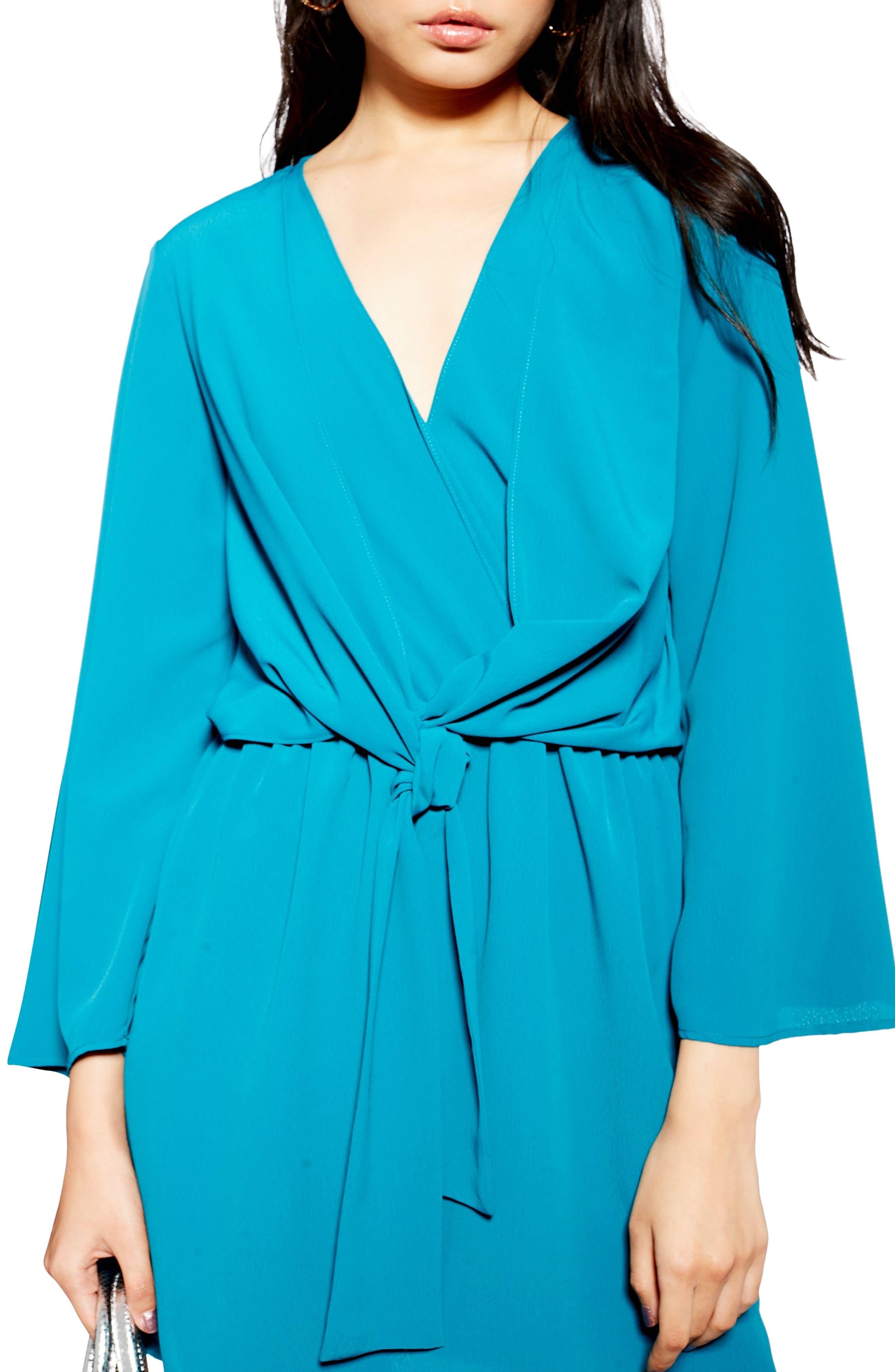 TOPSHOP, Tiffany Knot Minidress, Alternate thumbnail 4, color, TEAL