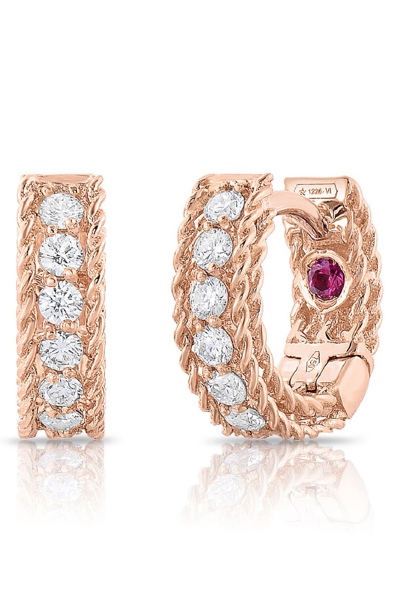 Roberto Coin Accessories ROMAN BAROCCO DIAMOND HUGGIE HOOP EARRINGS