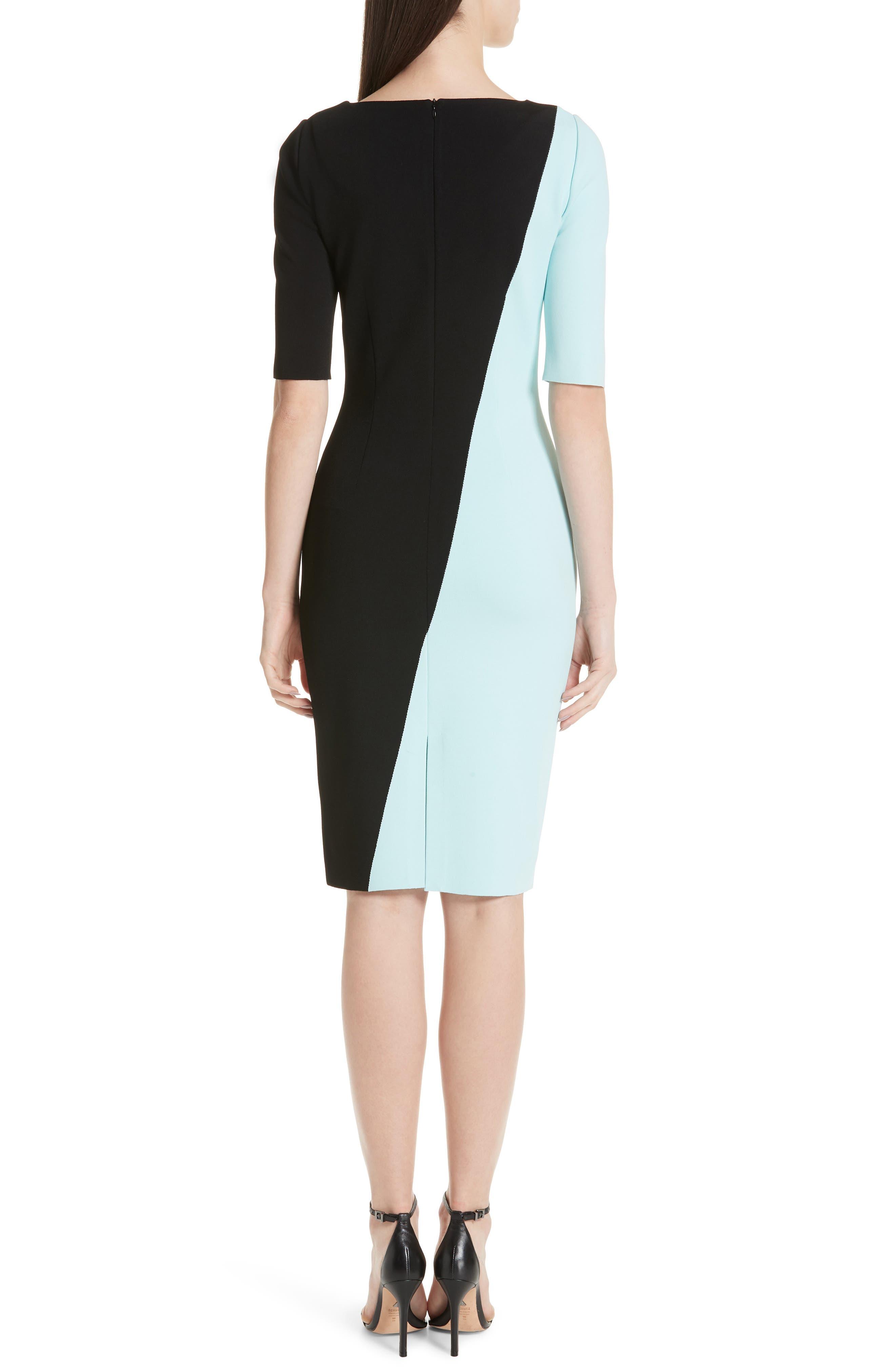 ST. JOHN COLLECTION, Luxe Sculpture Knit Dress, Alternate thumbnail 2, color, SEAFOAM/ CAVIAR