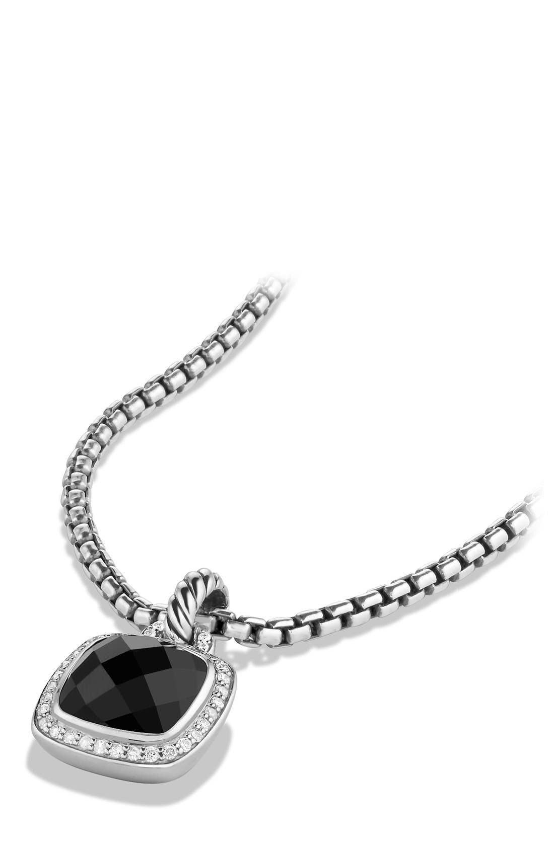 DAVID YURMAN, 'Albion' Pendant and Diamonds, Alternate thumbnail 3, color, BLACK ONYX