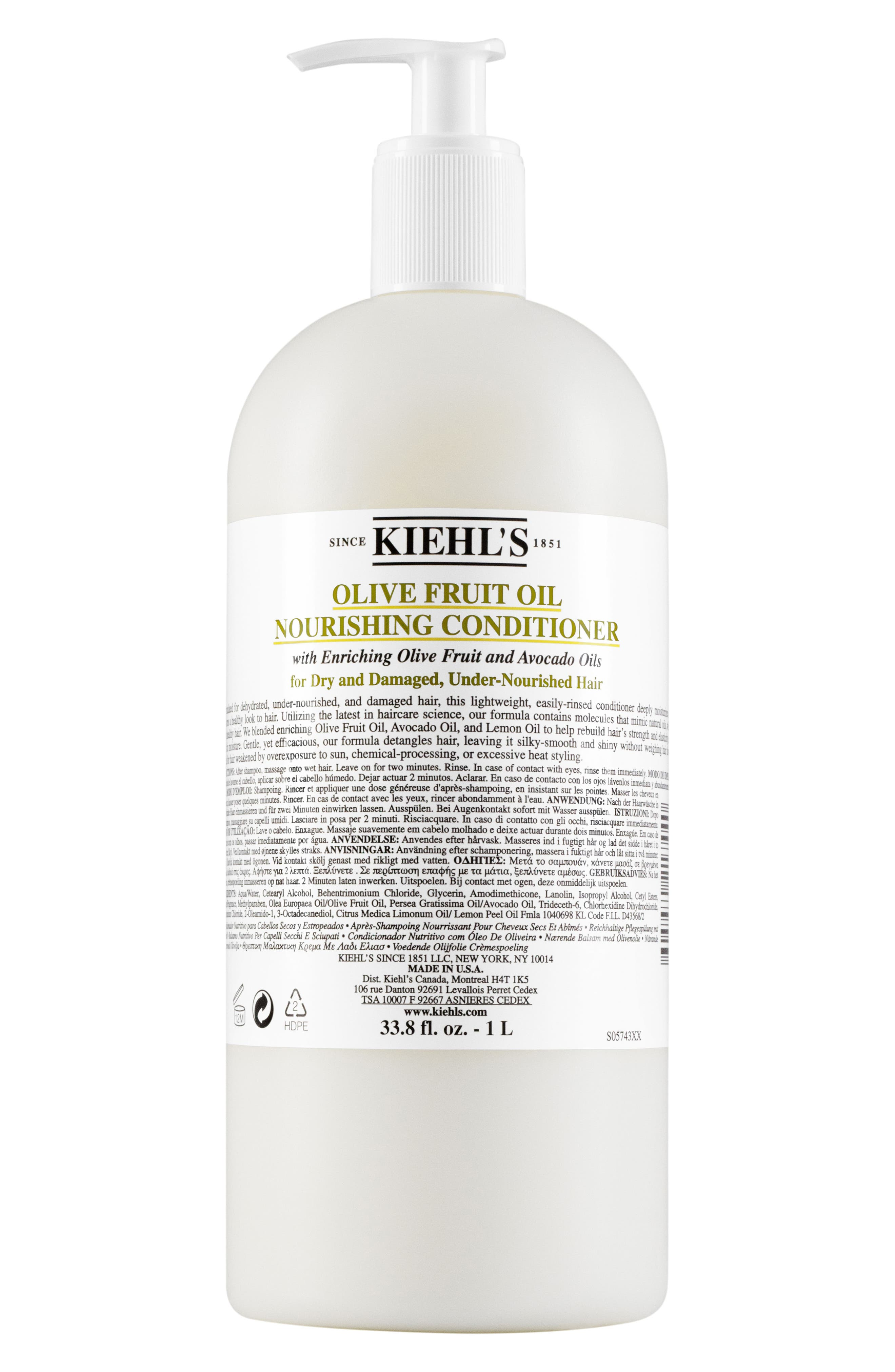 KIEHL'S SINCE 1851, Olive Fruit Oil Nourishing Conditioner, Main thumbnail 1, color, NO COLOR