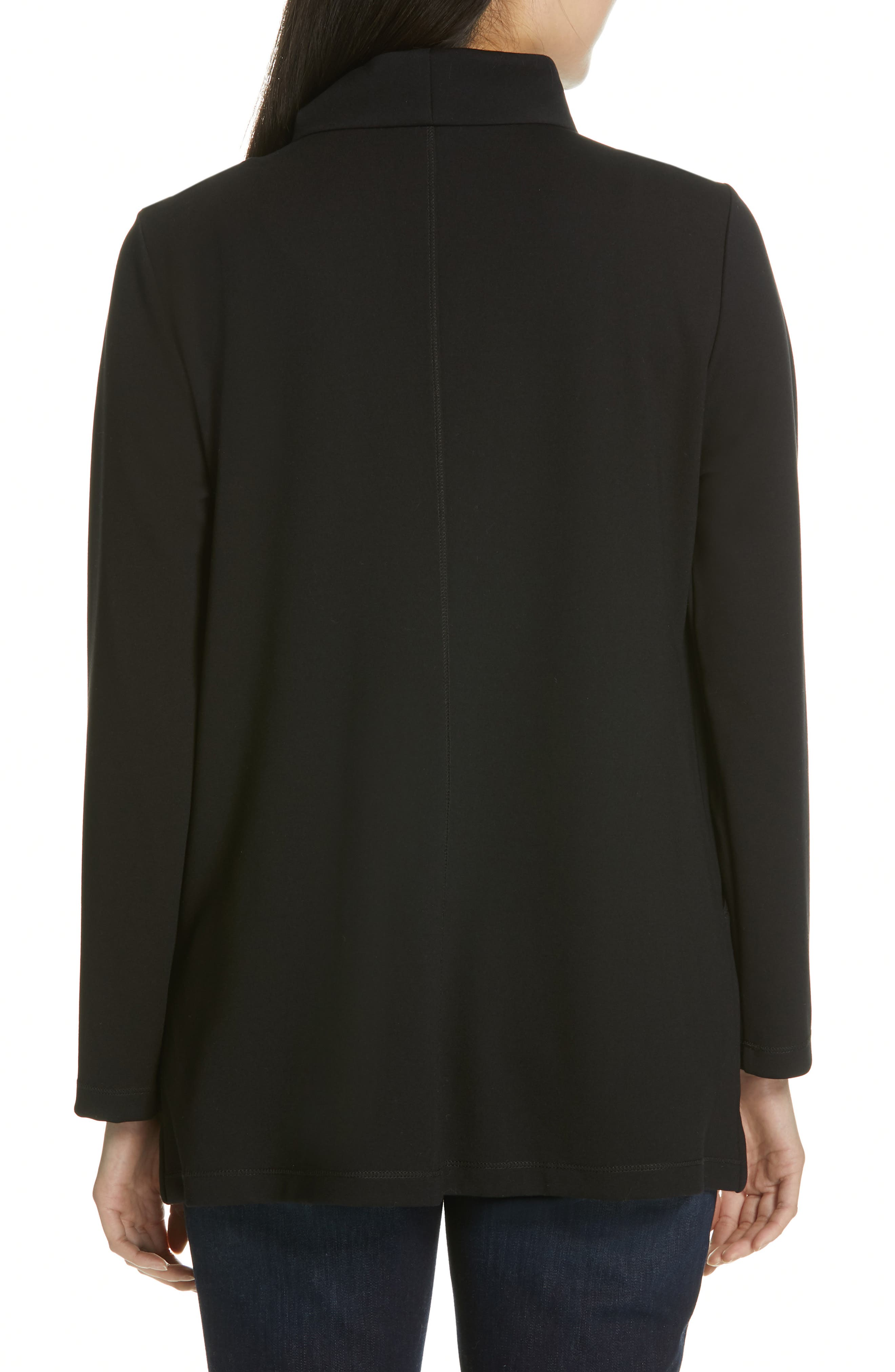 EILEEN FISHER, Zip Front Jacket, Alternate thumbnail 2, color, 001