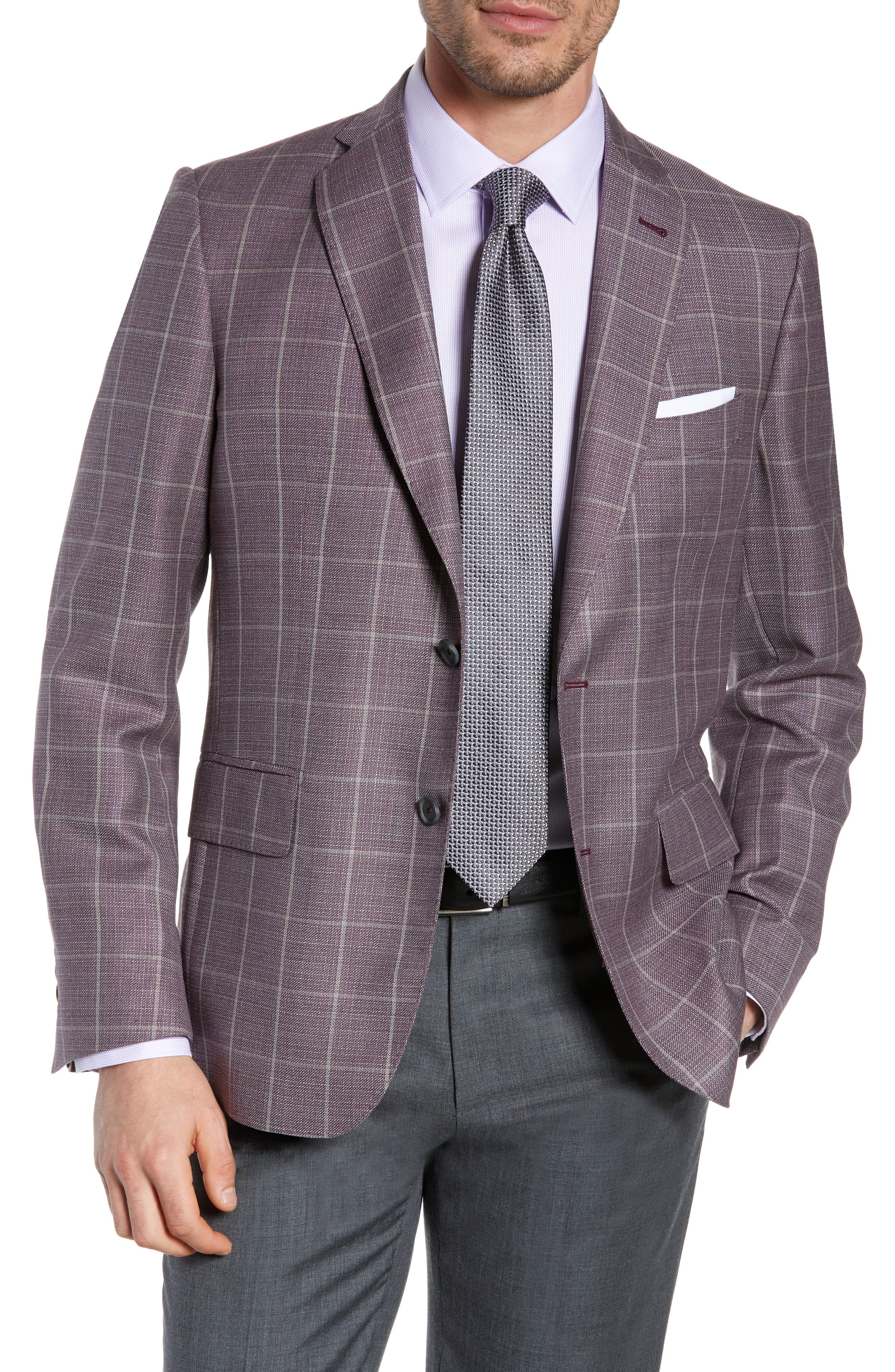 JOHN W. NORDSTROM<SUP>®</SUP>, Traditional Fit Windowpane Wool Sport Coat, Main thumbnail 1, color, BURGUNDY SASS WINDOWPANE