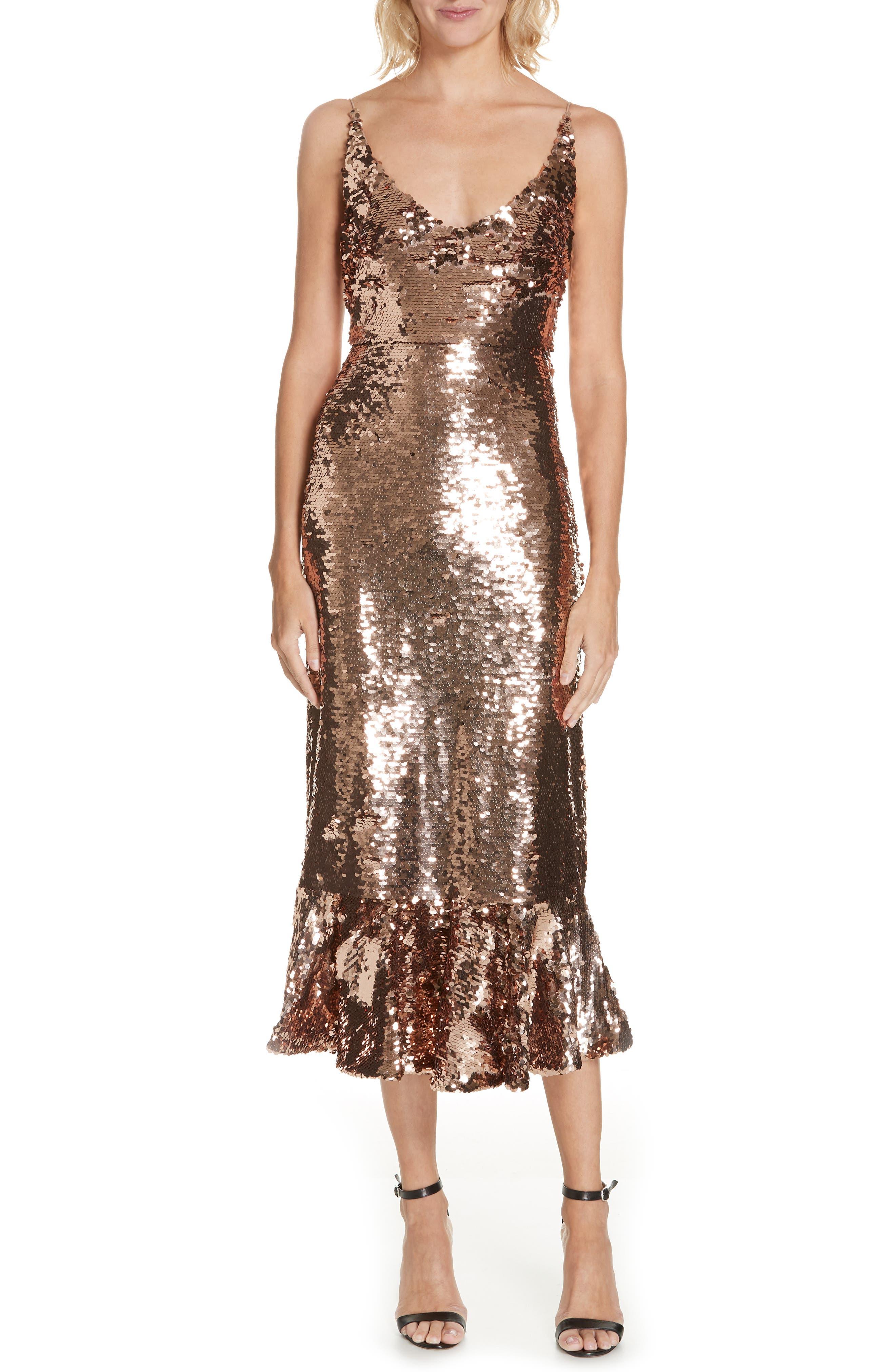 SALONI, Aidan Sequin Ruffle Hem Midi Dress, Main thumbnail 1, color, BRONZE