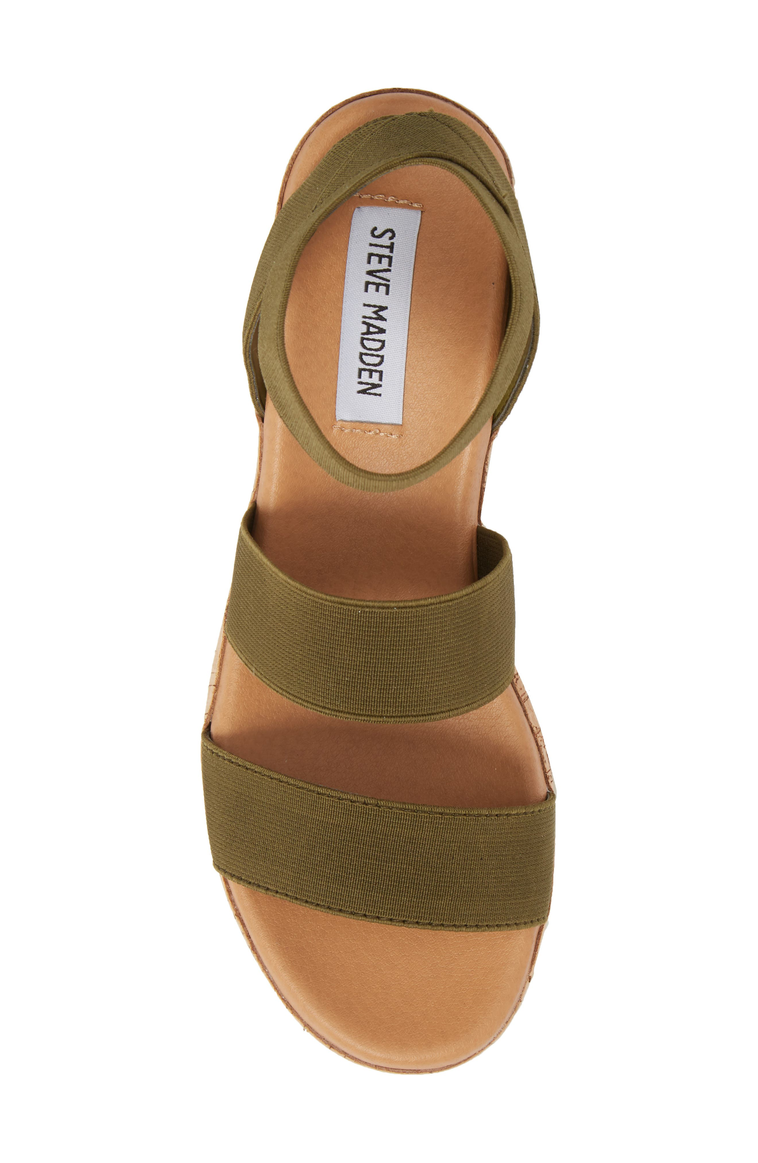 STEVE MADDEN, Bandi Platform Wedge Sandal, Alternate thumbnail 5, color, OLIVE