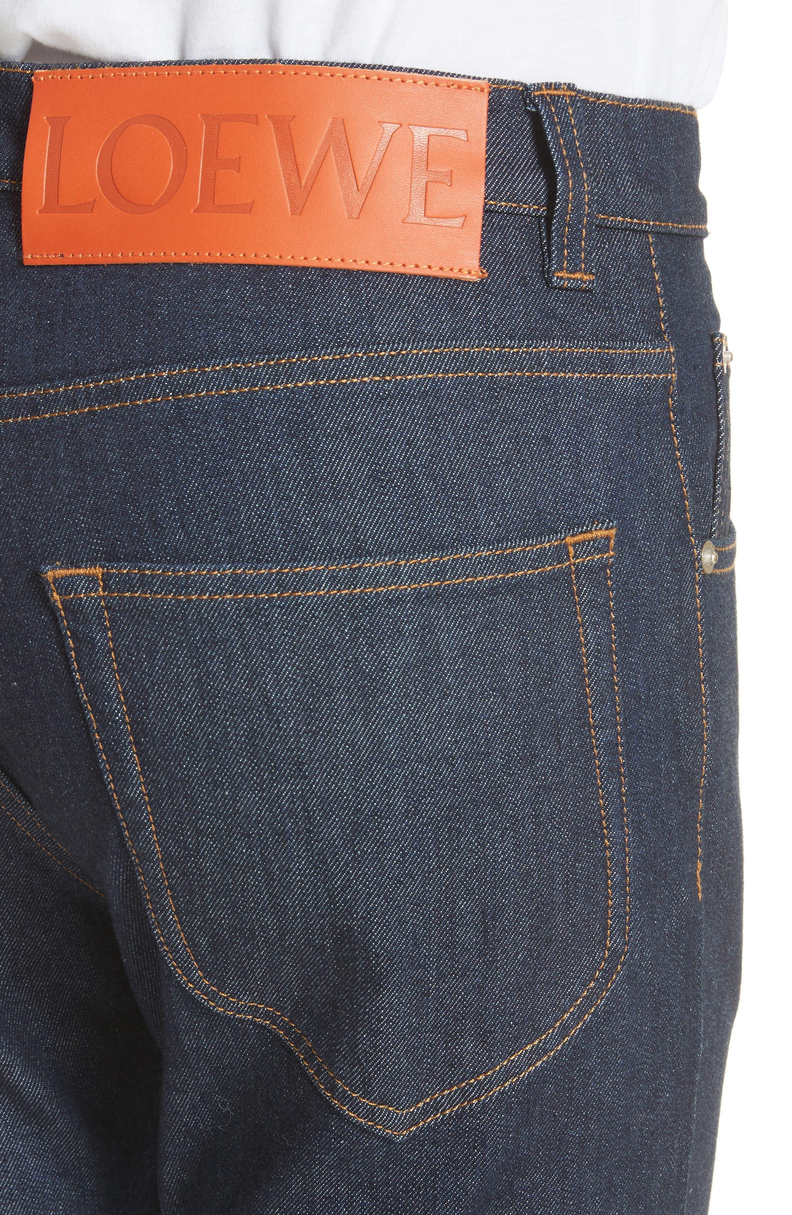 LOEWE, Skinny Fit Jeans, Alternate thumbnail 4, color, BLUE DENIM