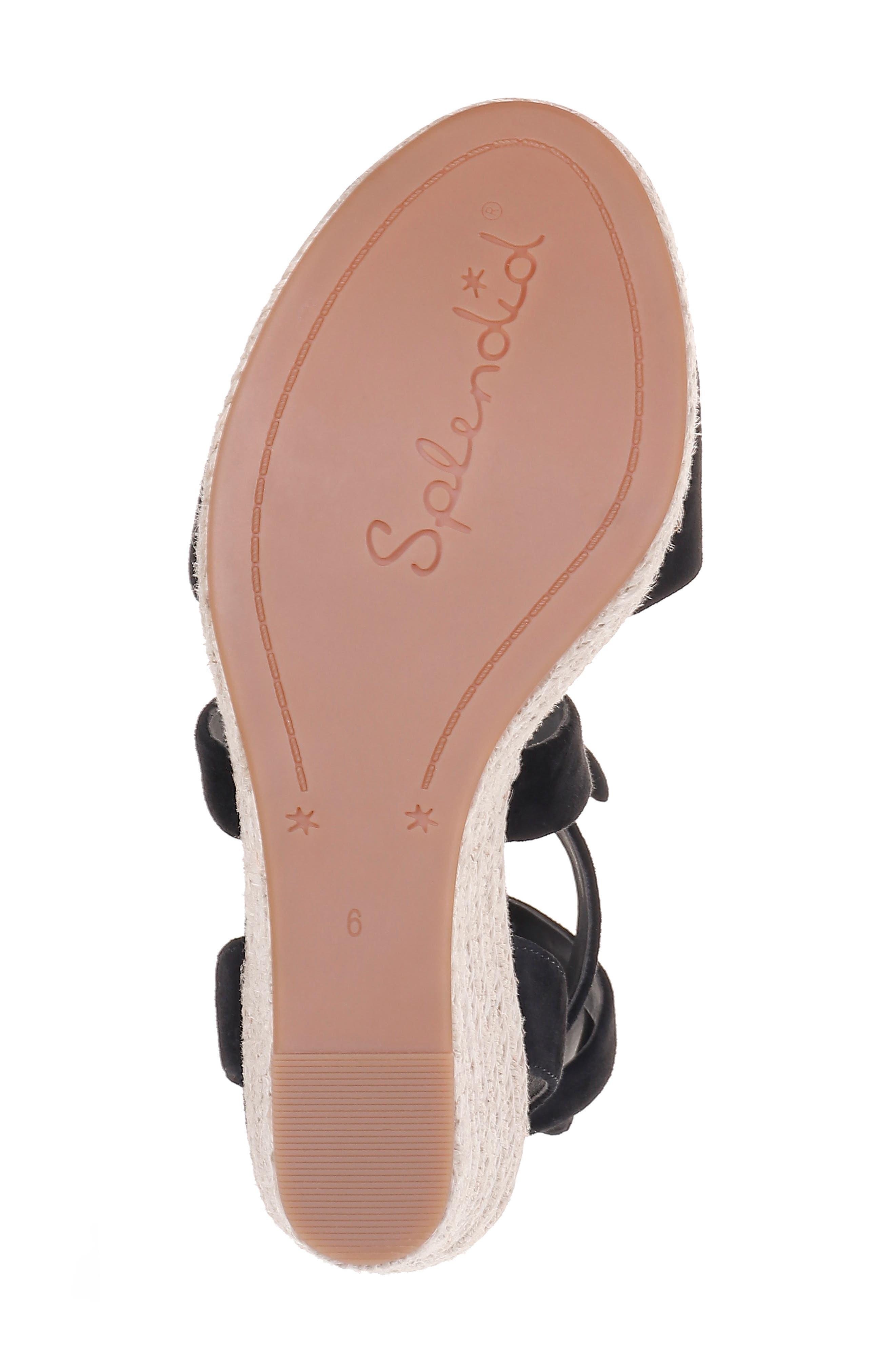 SPLENDID, Tessie Ankle Wrap Wedge Sandal, Alternate thumbnail 6, color, BLACK SUEDE