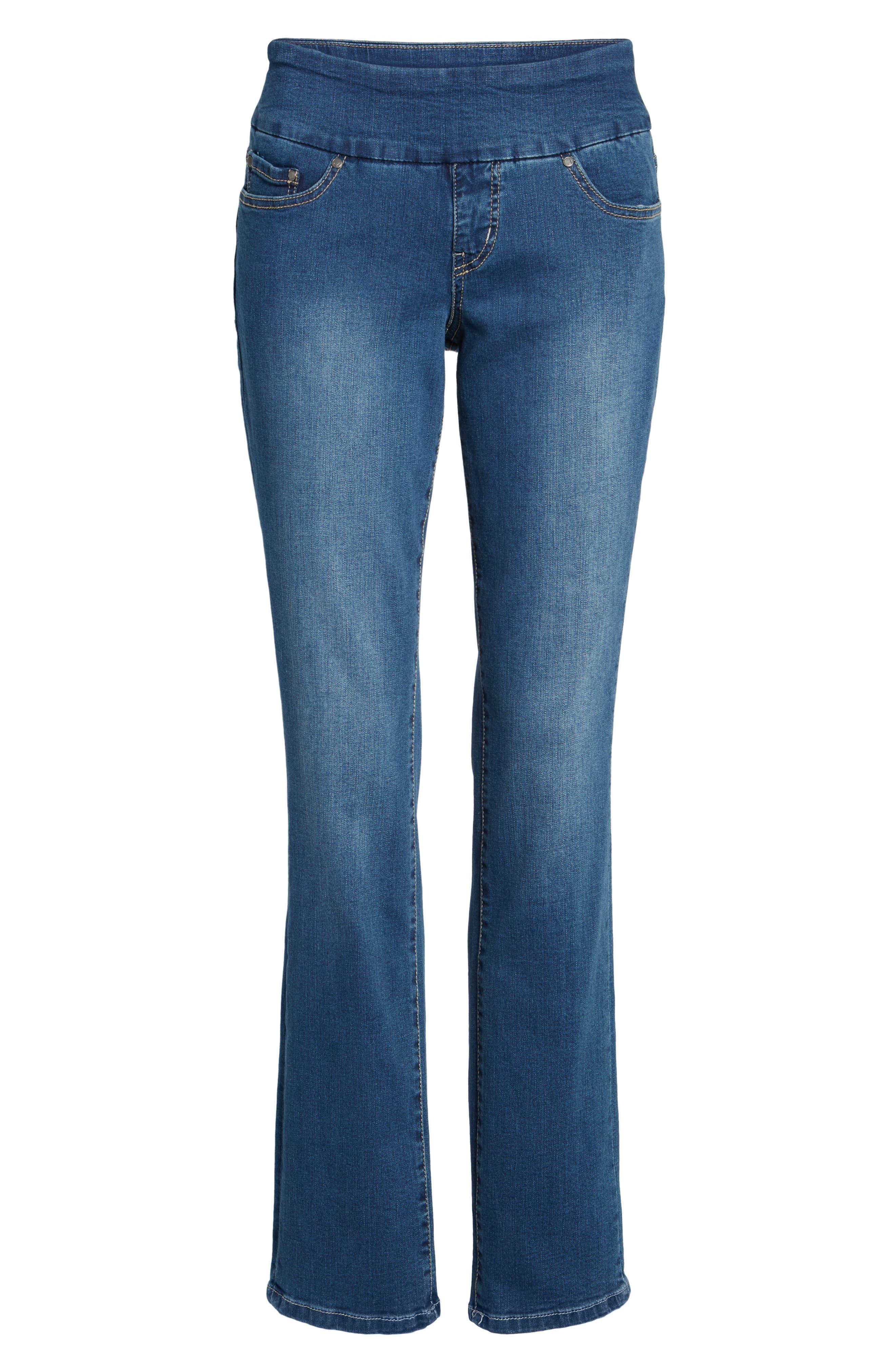 JAG JEANS, Peri Pull-On Straight Leg Jeans, Alternate thumbnail 6, color, MEDIUM INDIGO