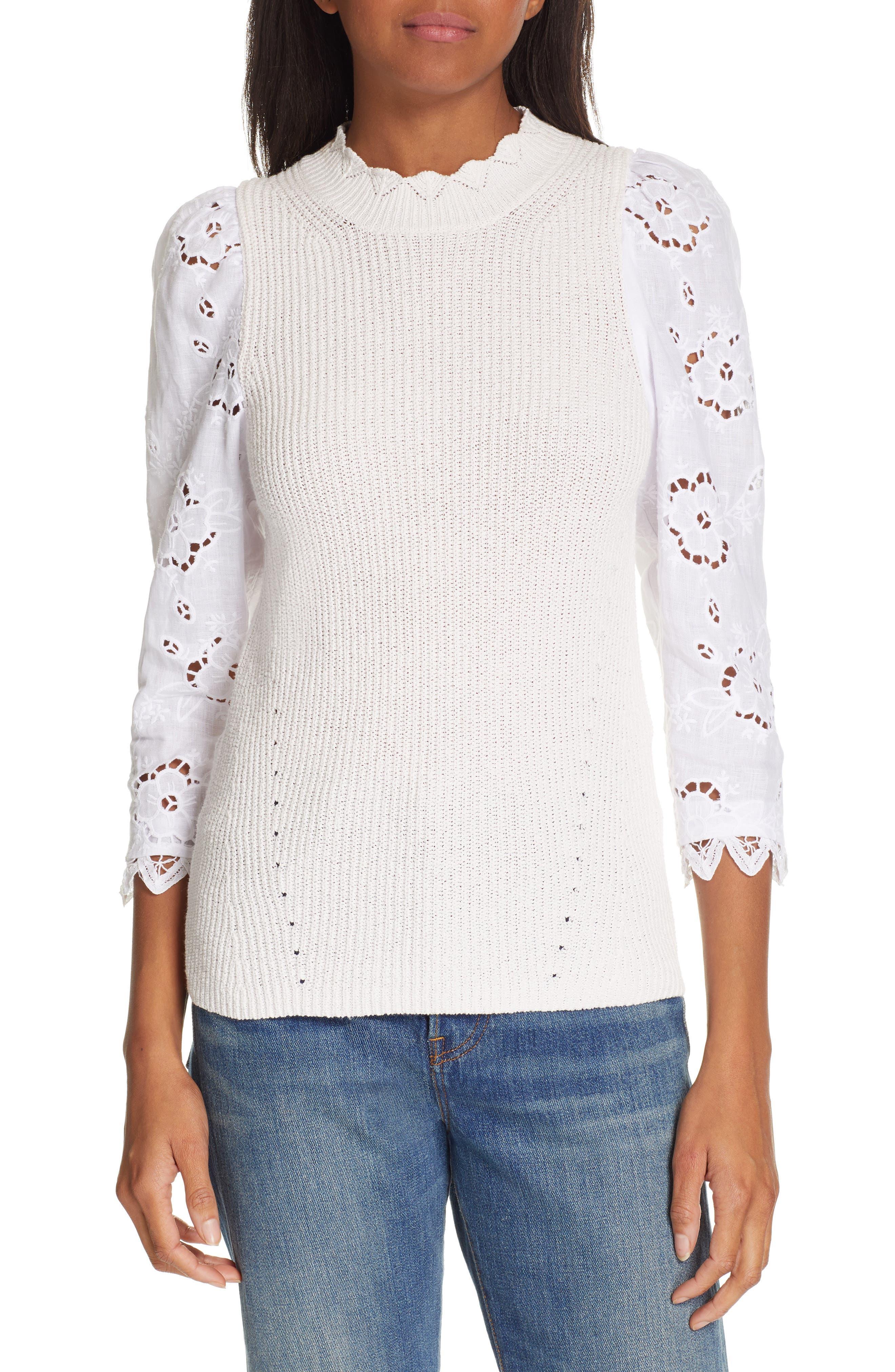REBECCA TAYLOR, Mix Media Eyelet Sleeve Cotton Sweater, Main thumbnail 1, color, WASHED PETAL