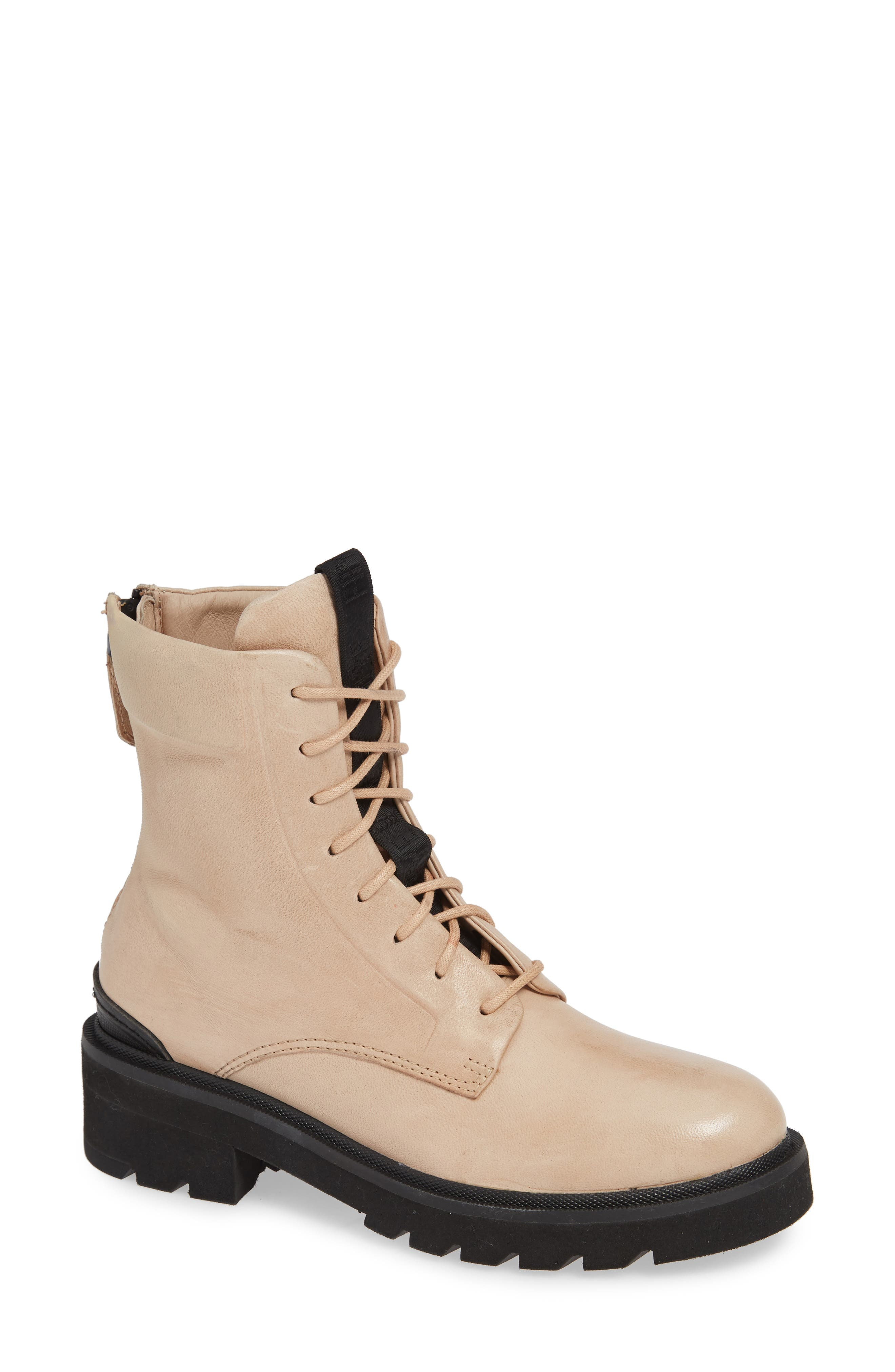 FRYE Allison Combat Boot, Main, color, CREAM LEATHER