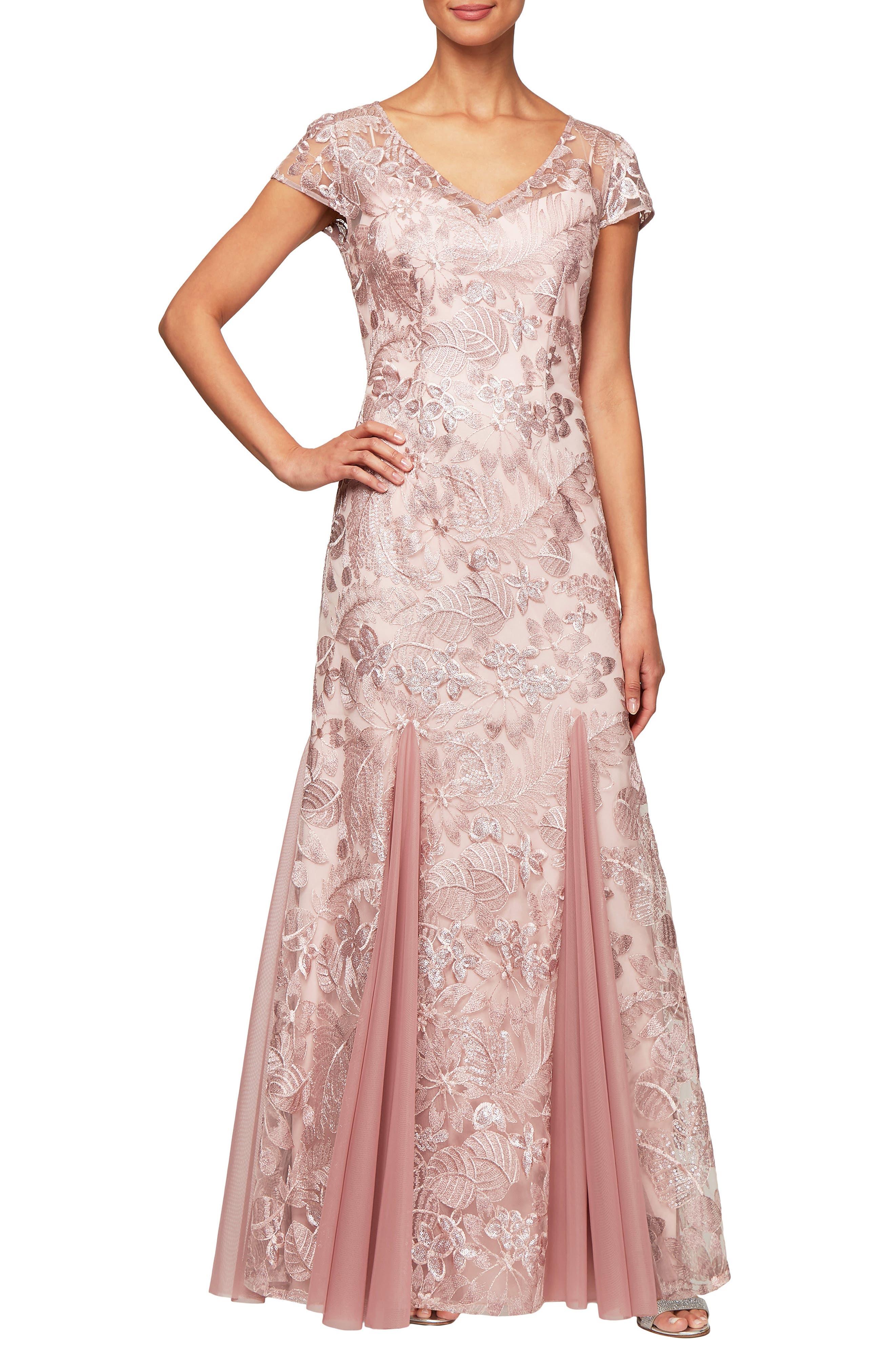 Petite Alex Evenings V-Neck Embroidered Evening Dress, Pink