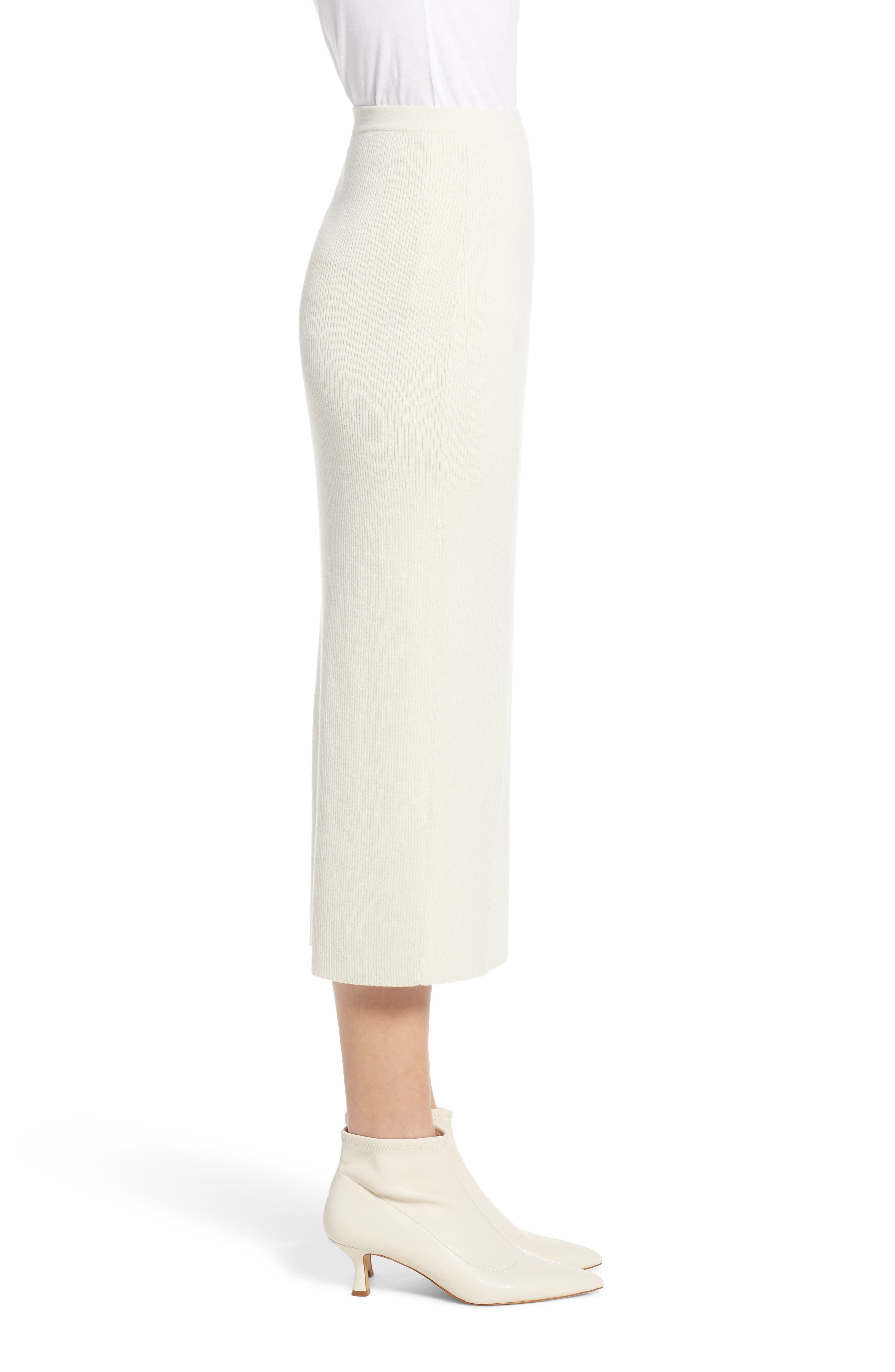 SOMETHING NAVY, Rib Sweater Midi Skirt, Alternate thumbnail 4, color, 900