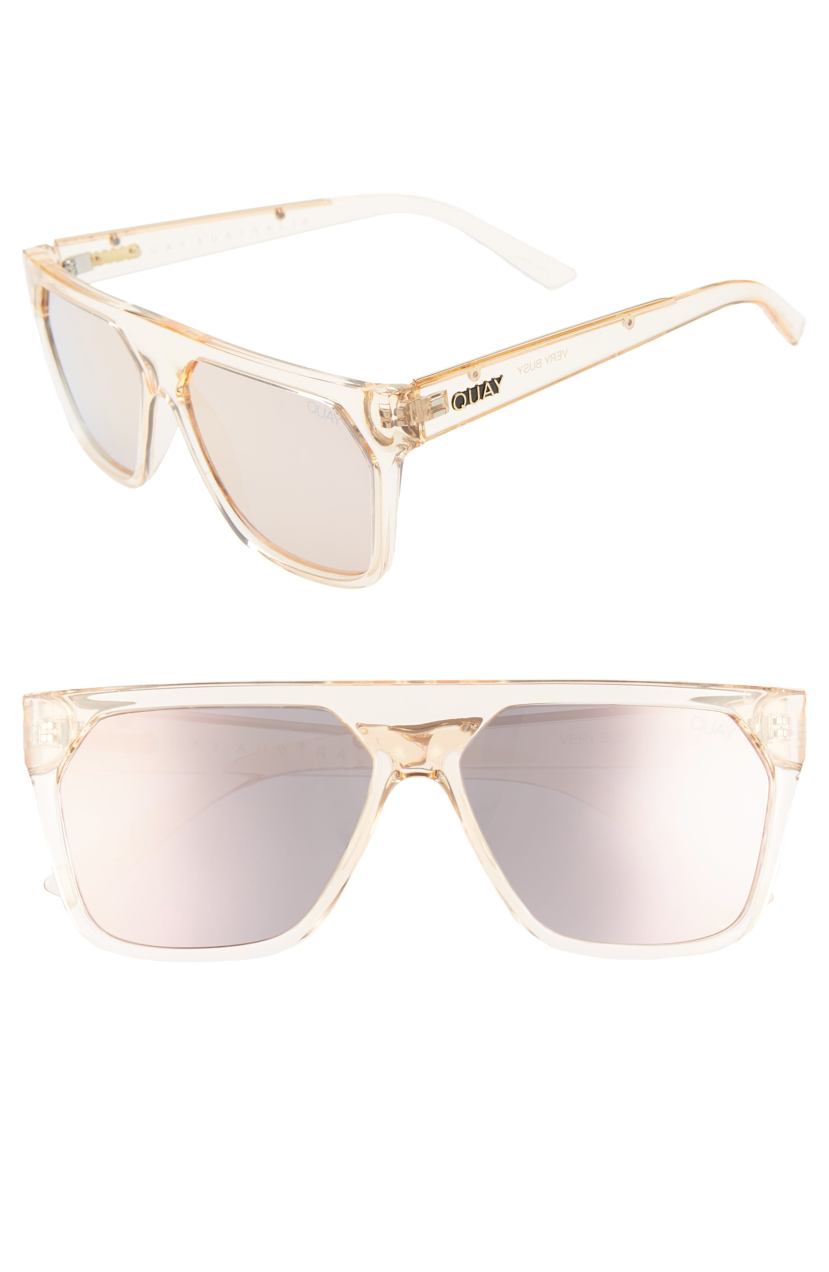 QUAY AUSTRALIA, x Jaclyn Hill Very Busy 58mm Shield Sunglasses, Main thumbnail 1, color, CHAMPAGNE / ROSE