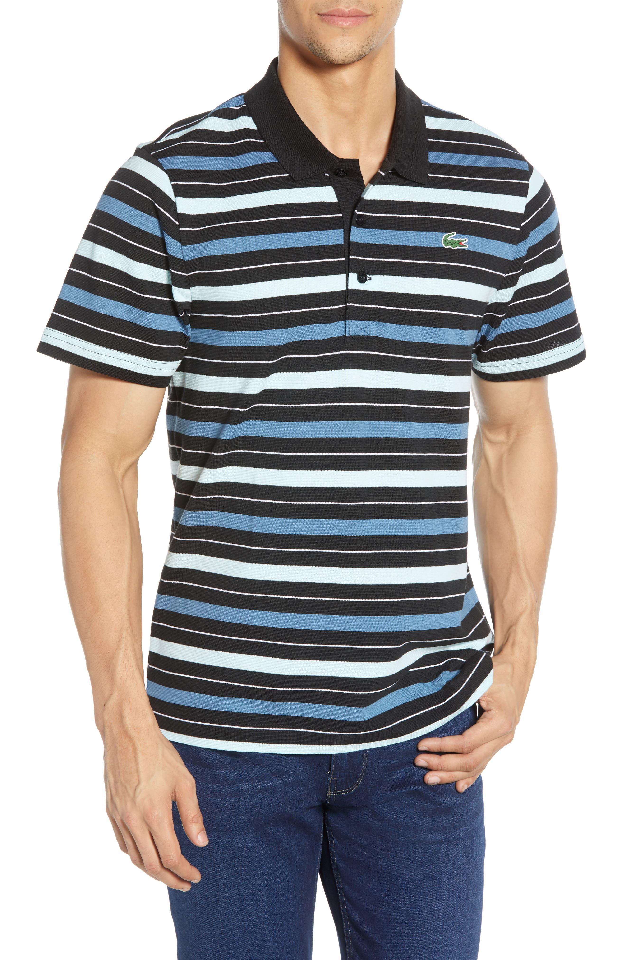 LACOSTE, Super Light Stripe Piqué Polo, Main thumbnail 1, color, BLACK/ AQUARIUM-WHITE-NEOTTIA