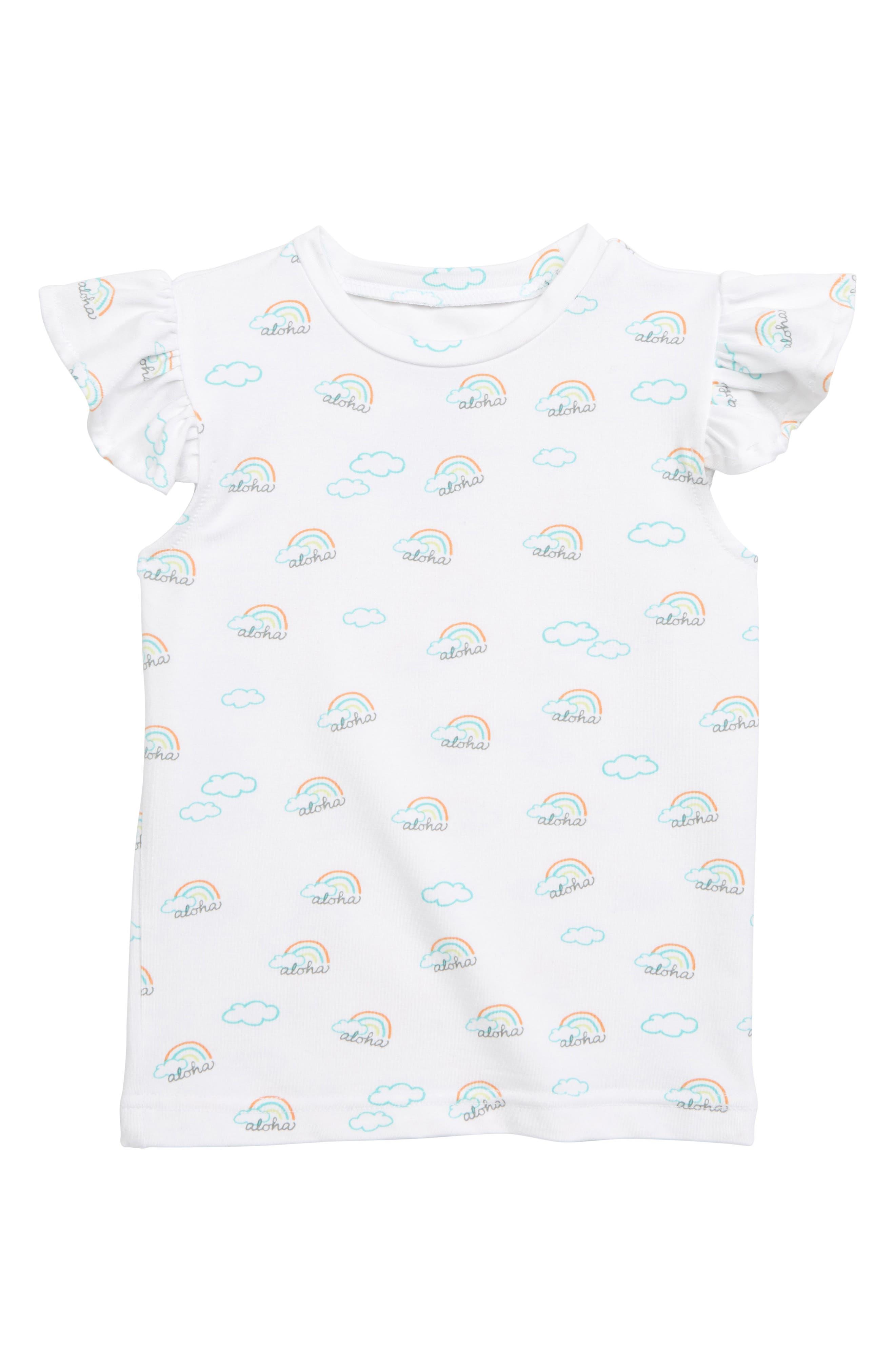 COCO MOON, Aloha Flutter Sleeve T-Shirt, Main thumbnail 1, color, MULTI
