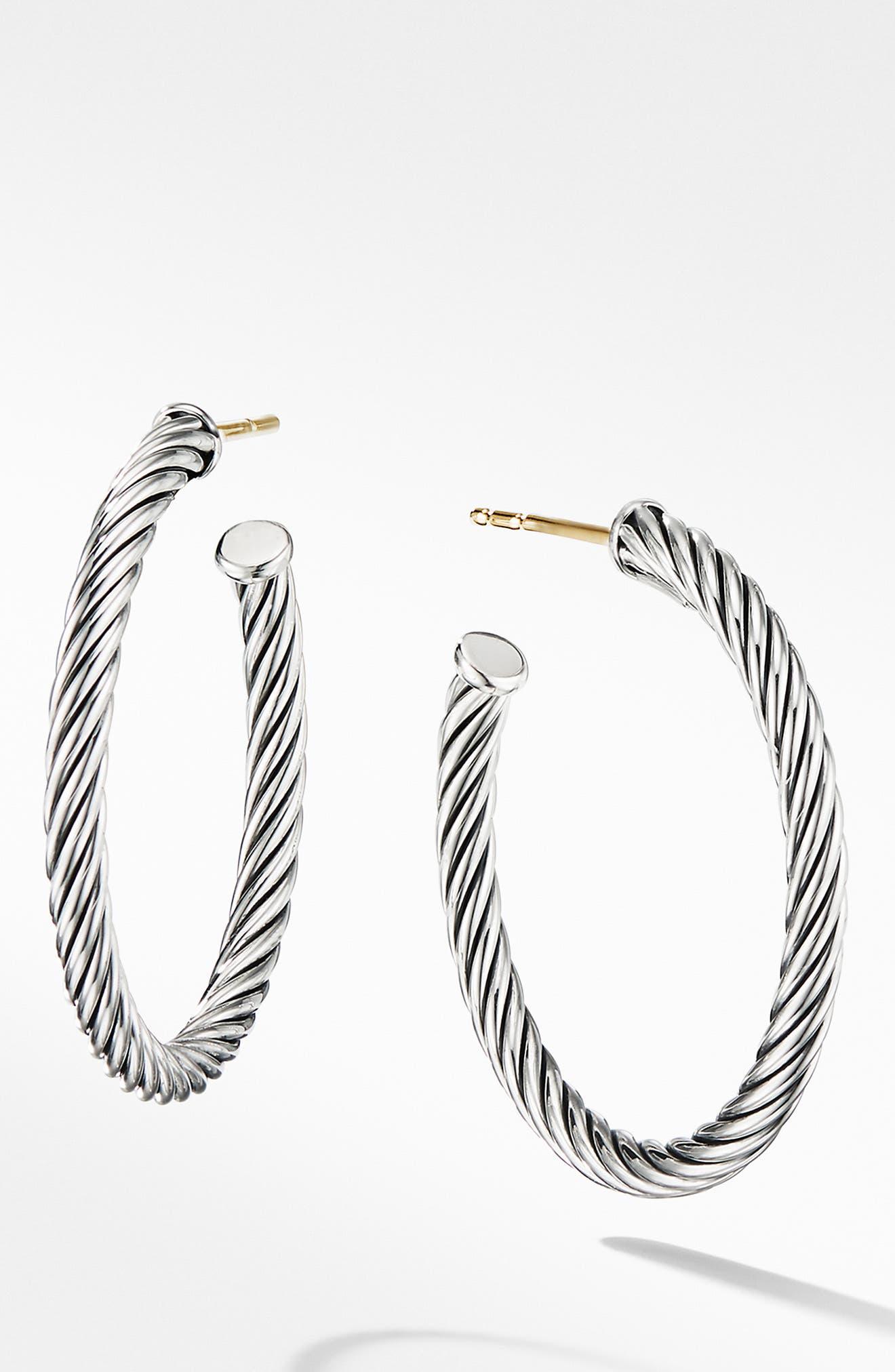 DAVID YURMAN, Cable Loop Hoop Earrings, Main thumbnail 1, color, SILVER