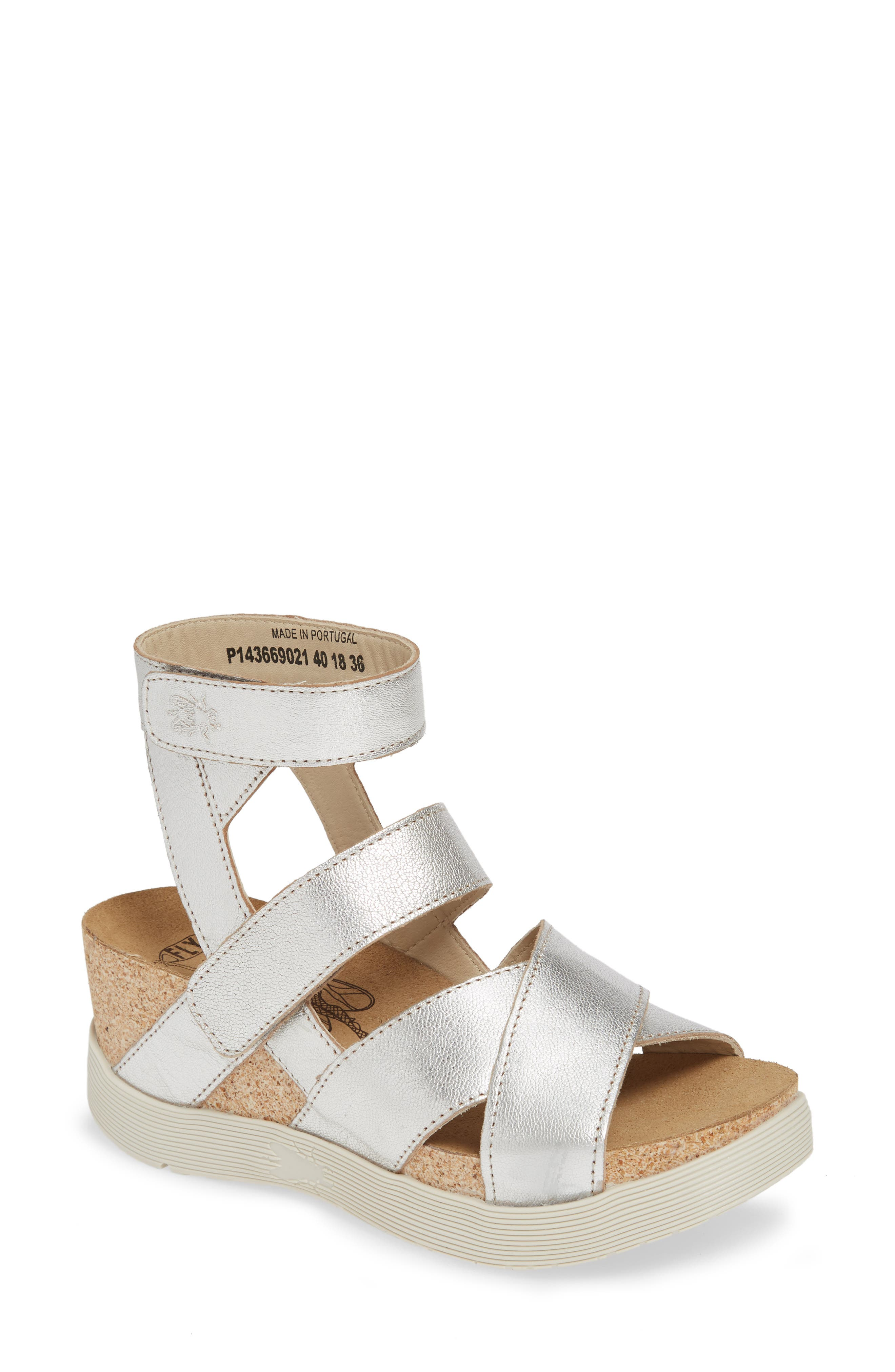 FLY LONDON, 'Wege' Leather Sandal, Main thumbnail 1, color, SILVER LEATHER