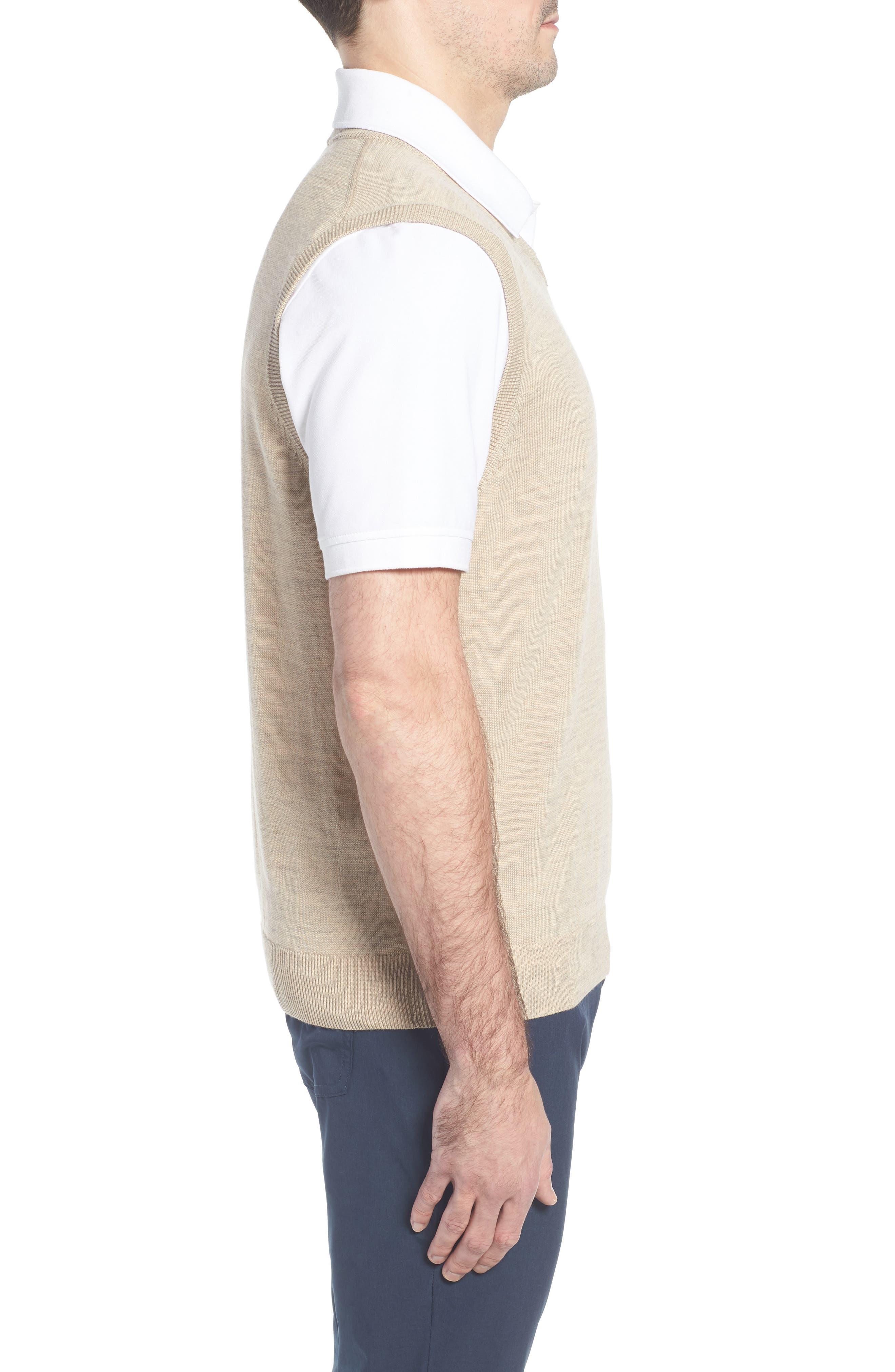 CUTTER & BUCK, 'Douglas' Merino Wool Blend V-Neck Sweater Vest, Alternate thumbnail 3, color, SAND HEATHER