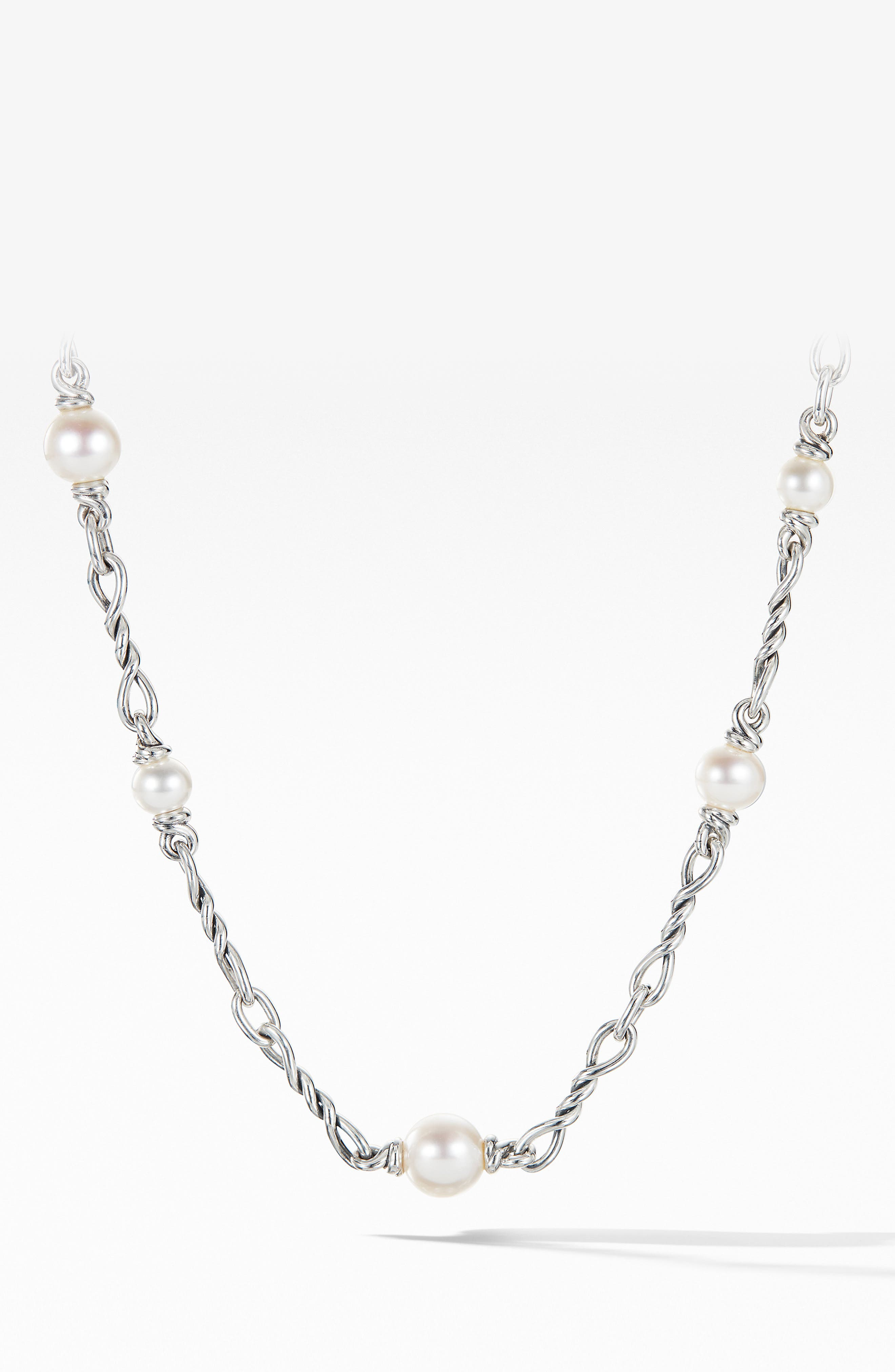 DAVID YURMAN, Continuance Pearl Small Chain Necklace, Alternate thumbnail 2, color, SILVER/ PEARL