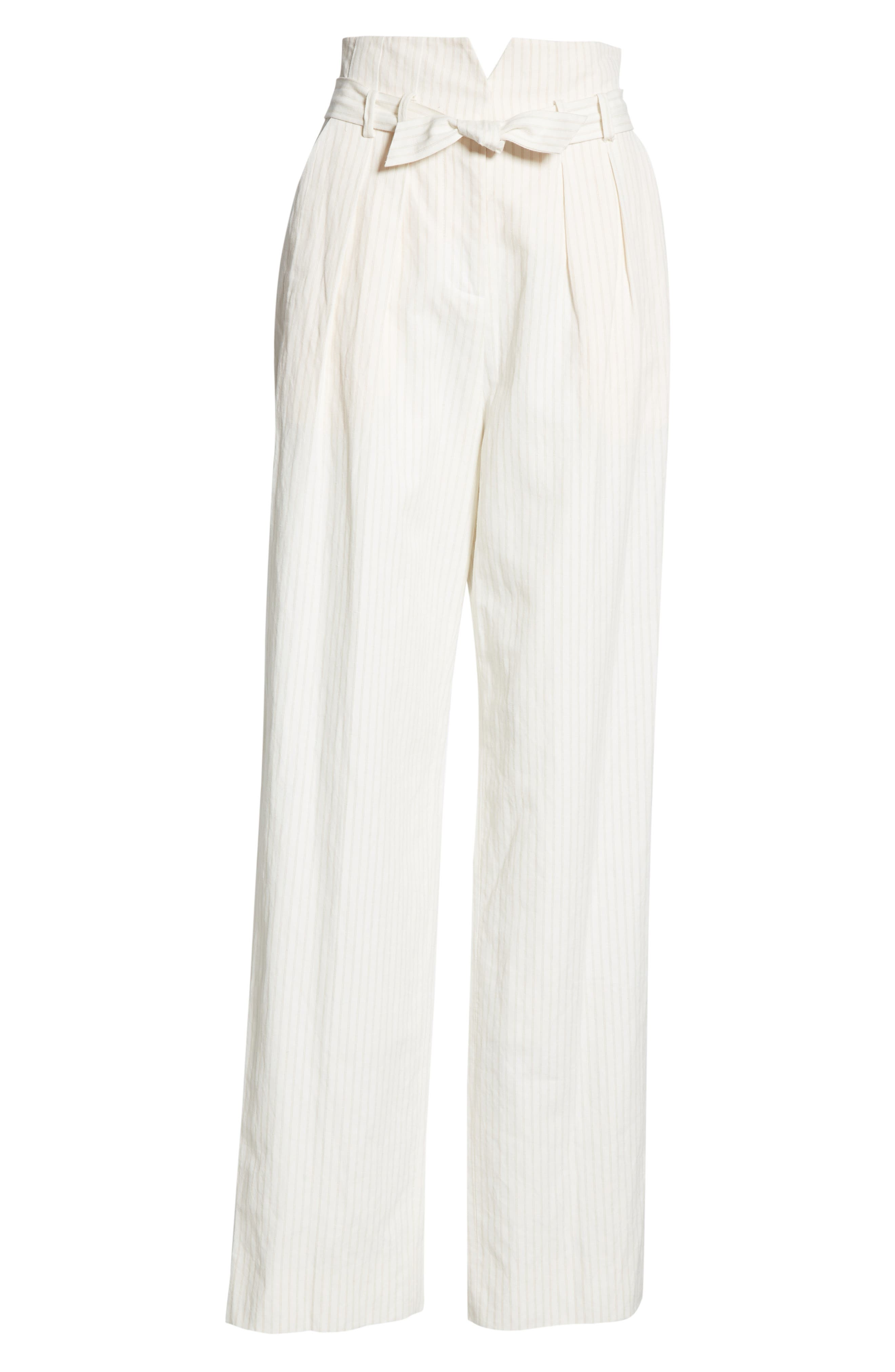 REBECCA TAYLOR, Pinstripe Belted Wide Leg Pants, Alternate thumbnail 7, color, SNOW COMBO