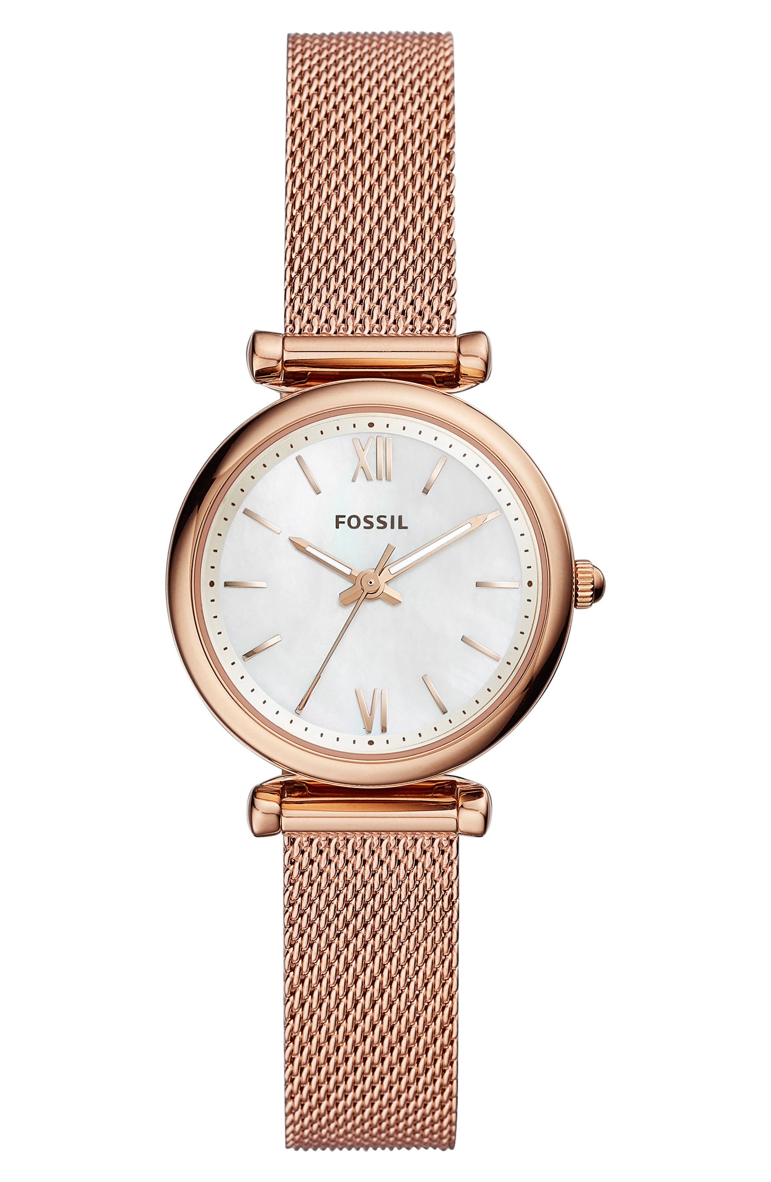 FOSSIL Mini Carlie Mesh Strap Watch, 28mm, Main, color, ROSEGOLD/MOTHER PEARL/ROSEGOLD