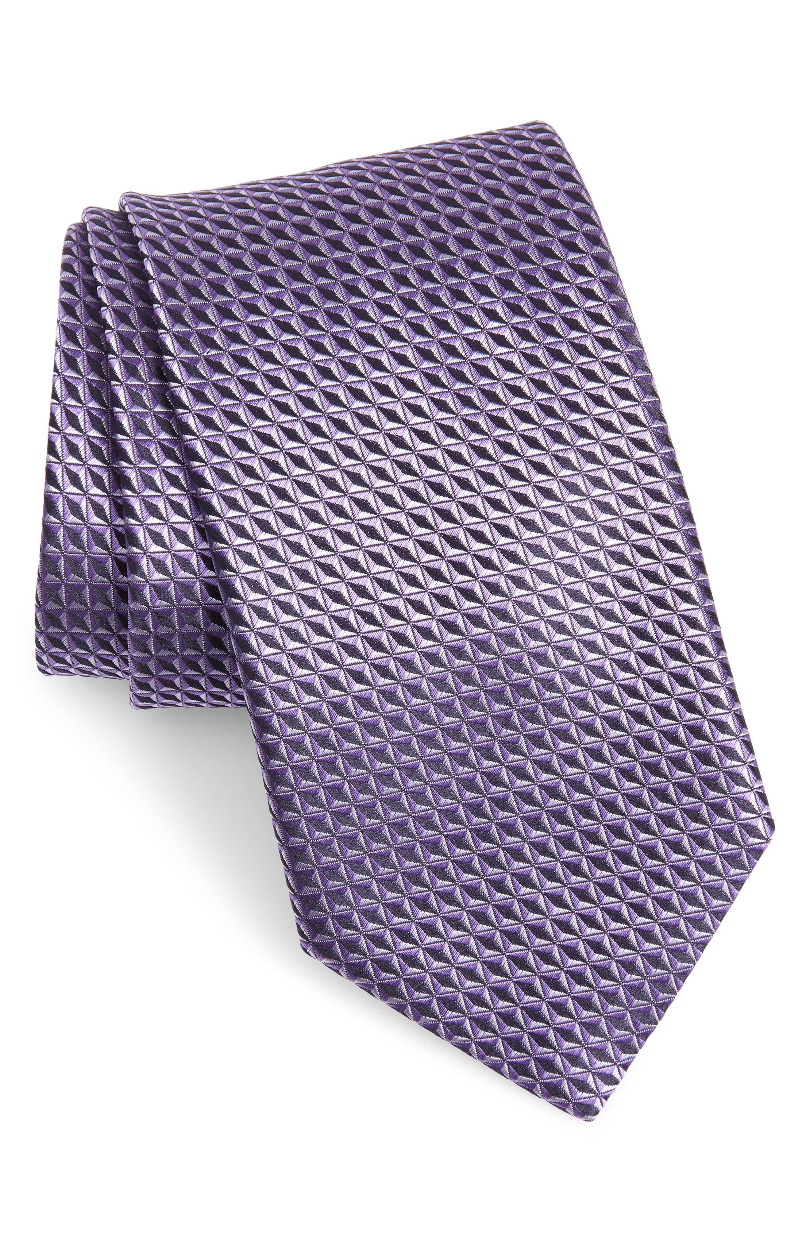 CANALI, Geometric Silk X-Long Tie, Main thumbnail 1, color, LIGHT PURPLE