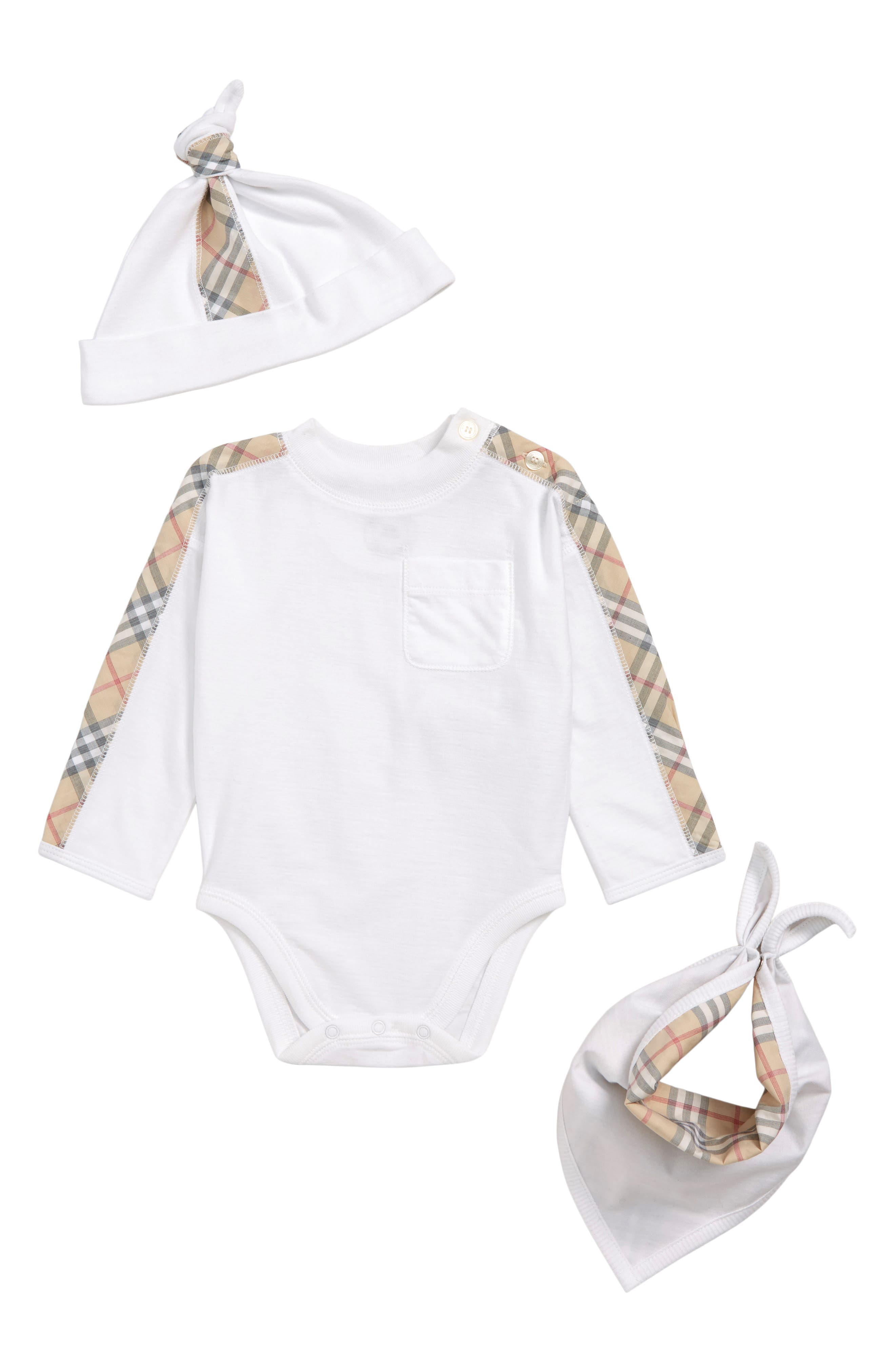 BURBERRY, Alby Bodysuit, Hat & Bib Set, Main thumbnail 1, color, WHITE