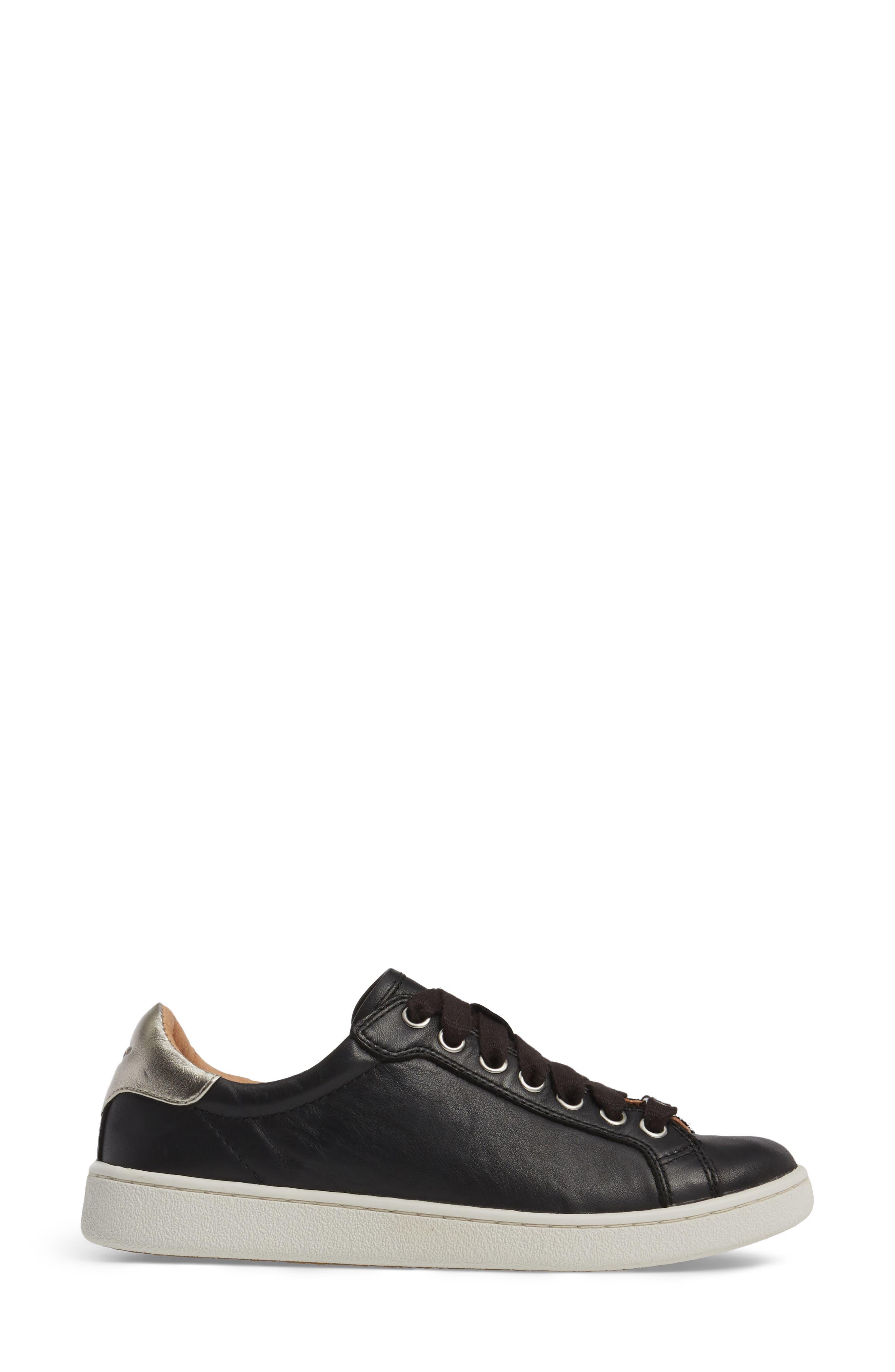 UGG<SUP>®</SUP>, Milo Sneaker, Alternate thumbnail 3, color, BLACK LEATHER