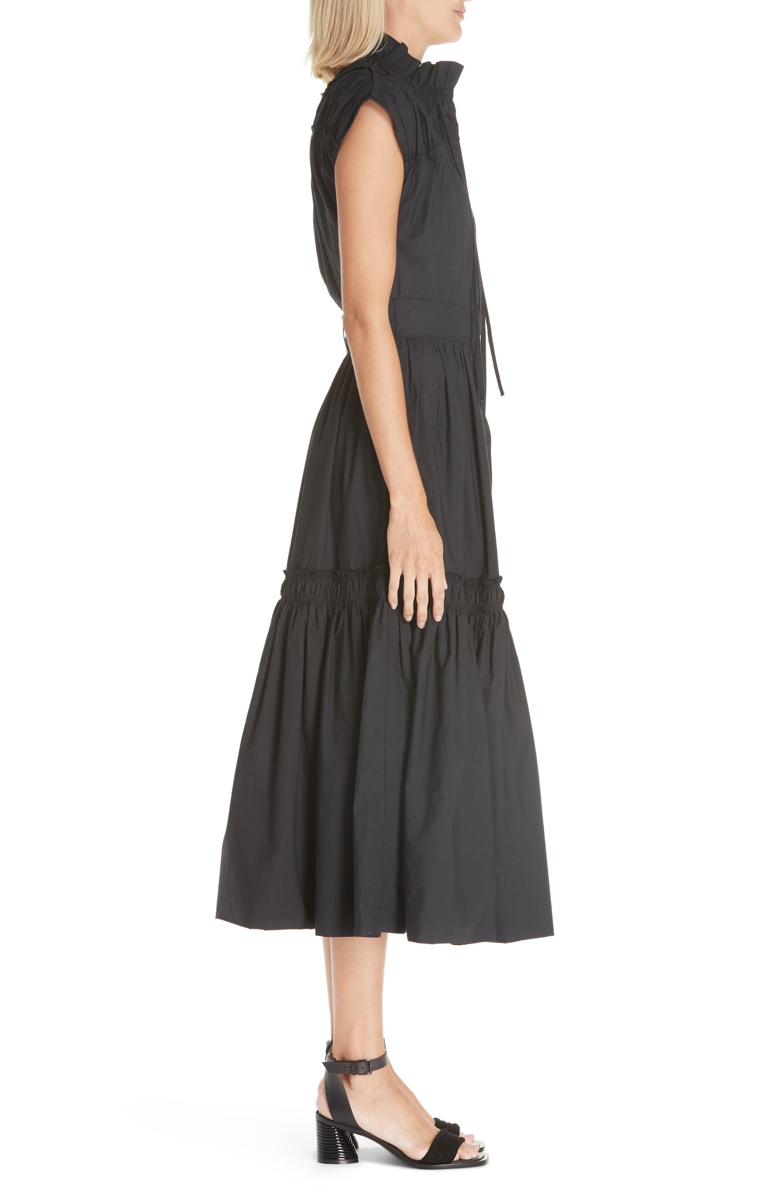 PROENZA SCHOULER, Smocked Poplin Dress, Alternate thumbnail 4, color, BLACK