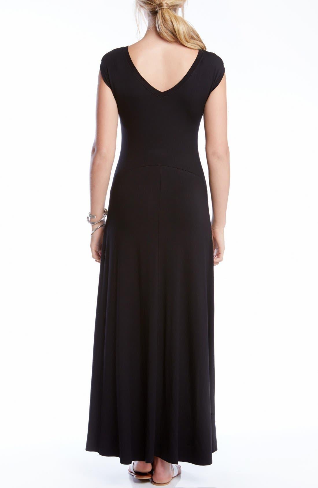 KAREN KANE, V-Back A-Line Maxi Dress, Alternate thumbnail 2, color, BLACK