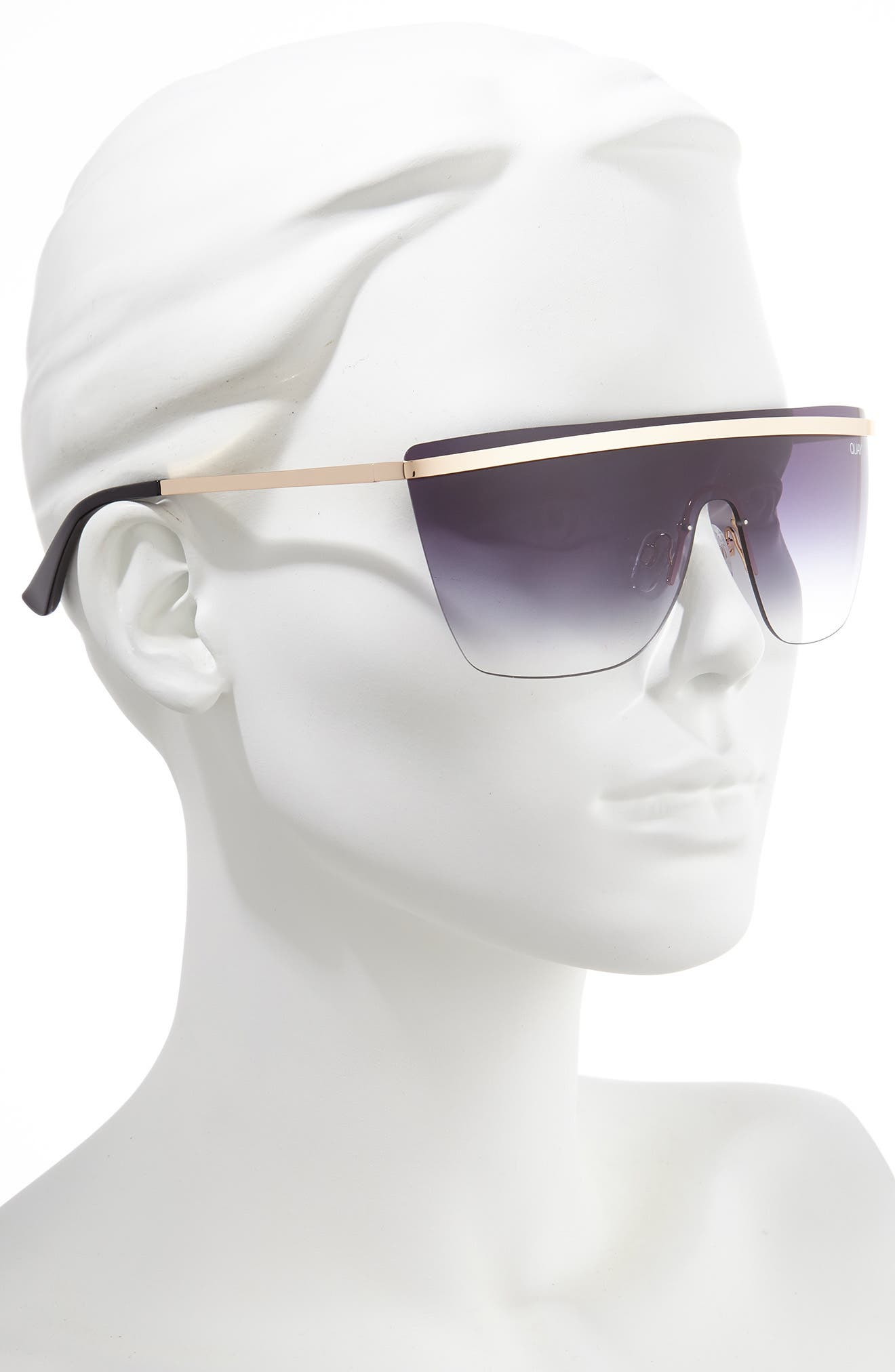 QUAY AUSTRALIA, x JLO Get Right 54mm Flat Top Shield Sunglasses, Alternate thumbnail 2, color, GOLD/ BLACK FADE