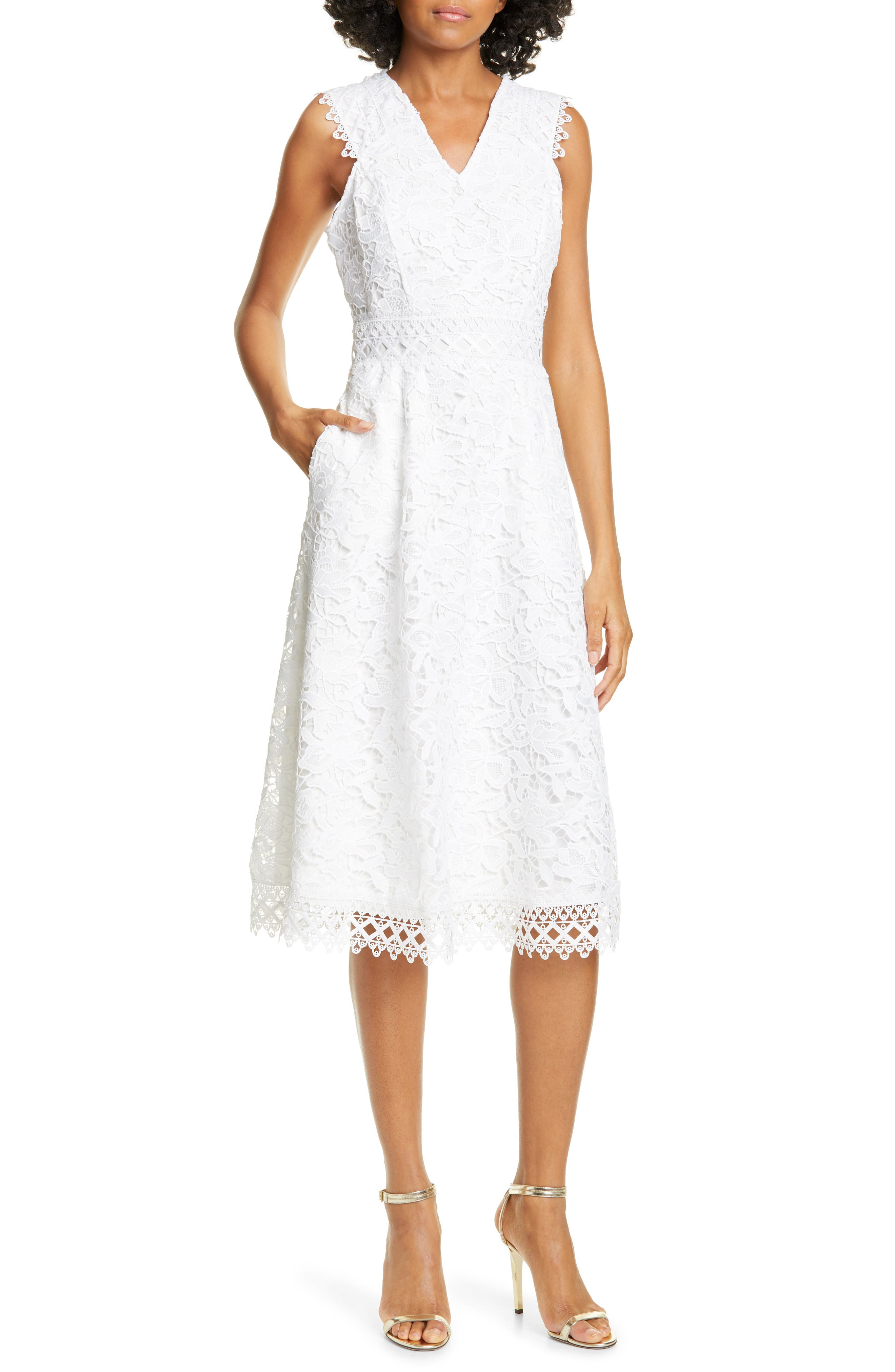 Ted Baker London Questy Sleeveless Lace Midi Dress, White
