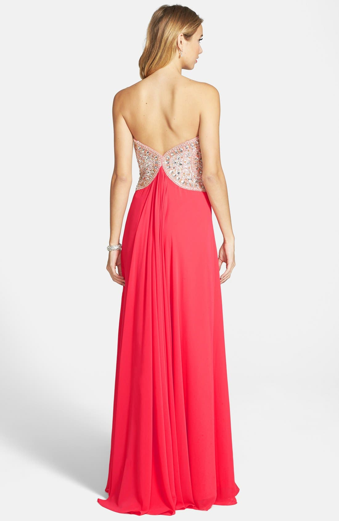 TERANI COUTURE, Embellished Bodice Strapless Chiffon Gown, Alternate thumbnail 3, color, 950